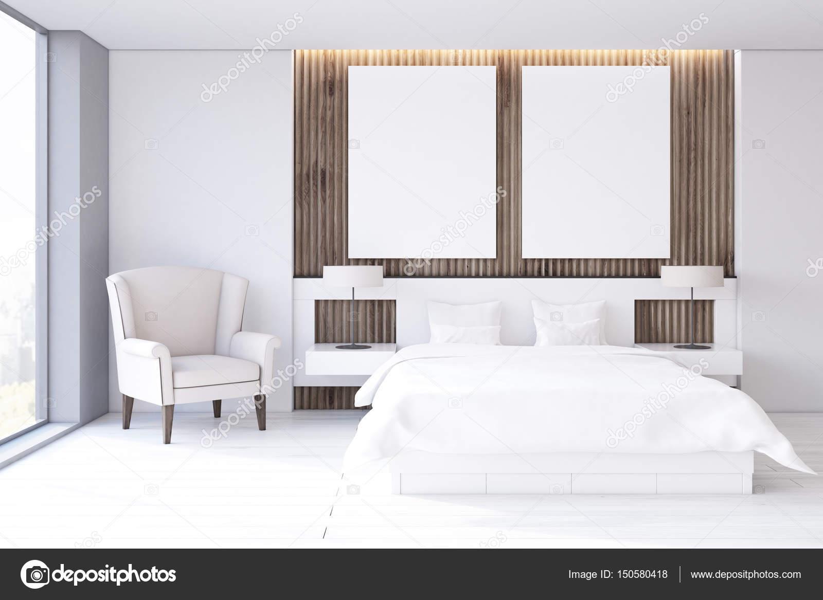 Twee poster slaapkamer, witte vloer, voorzijde — Stockfoto ...