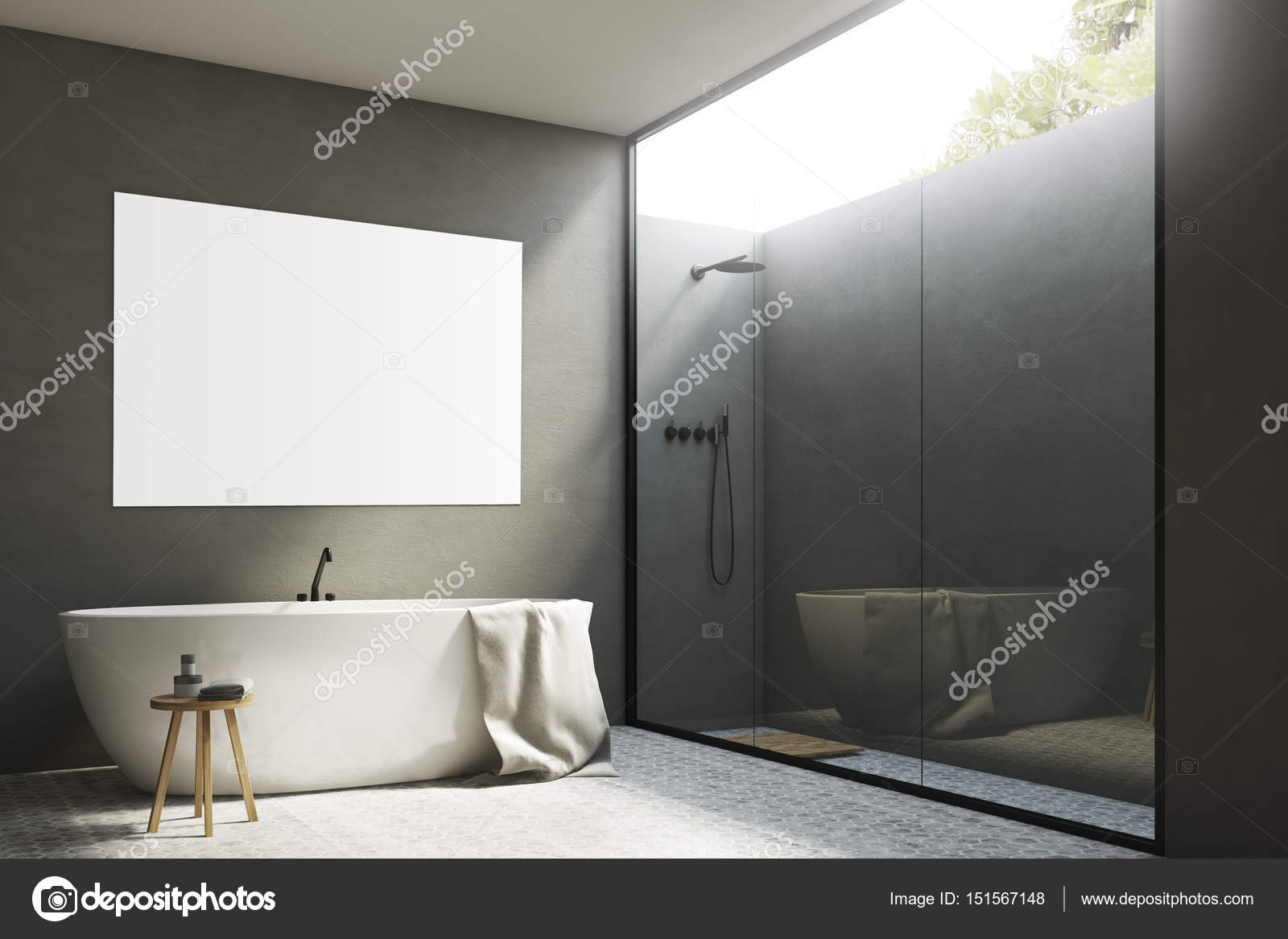 corner of a gray bathroom interior with white walls a tub standing near it a poster hanging above it and a shower with a glass wall 3d rendering mock up