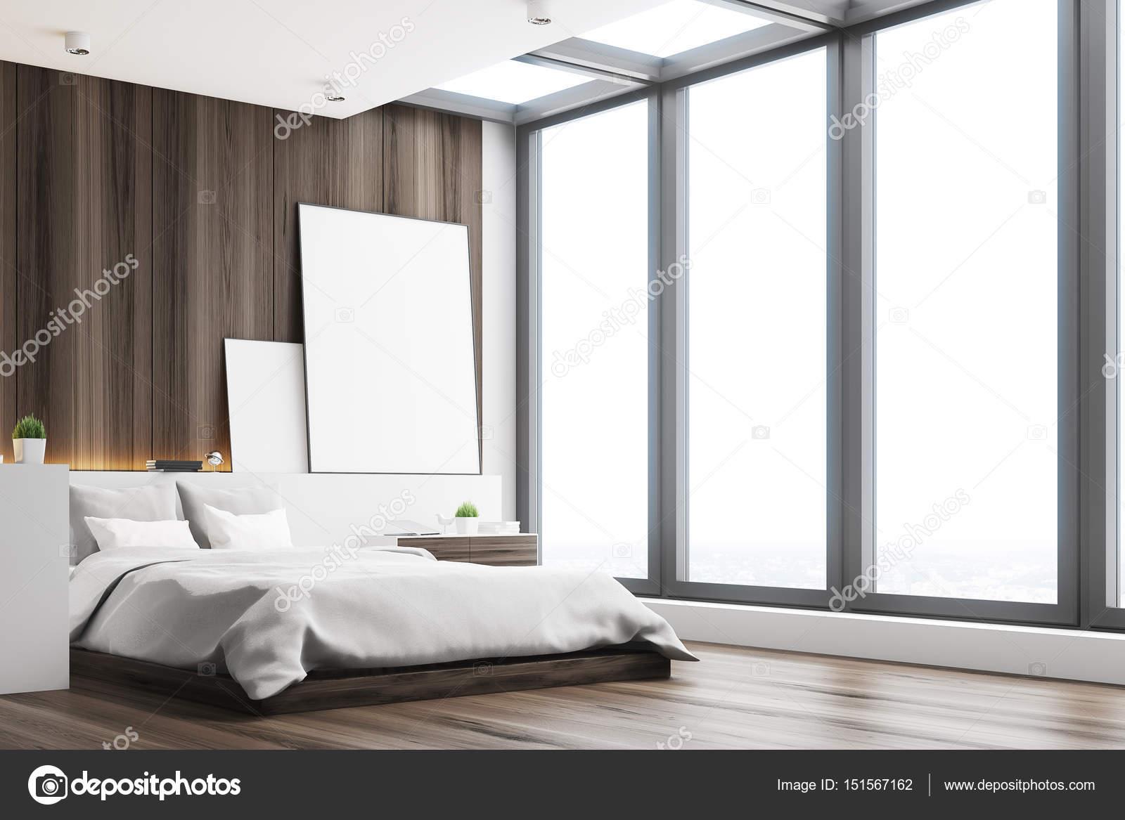 donkere slaapkamer hout kant stockfoto
