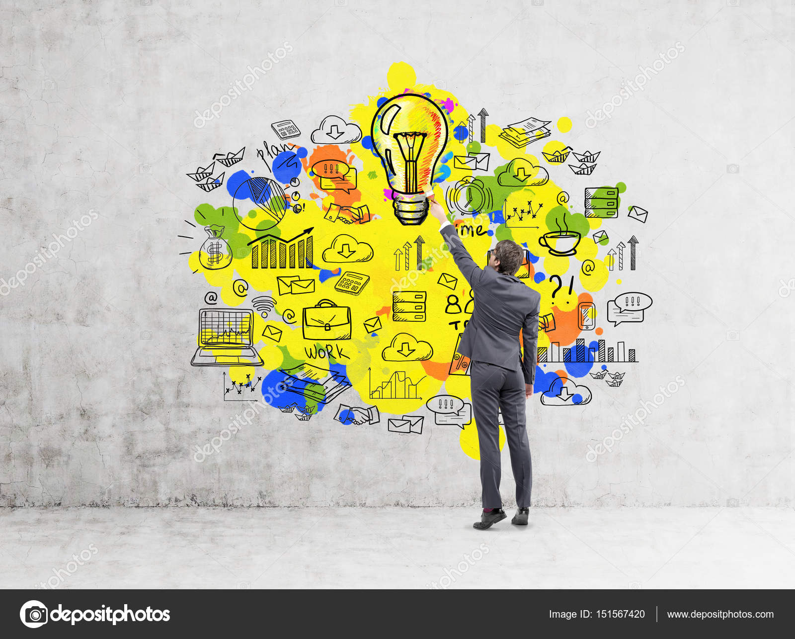 Man drawing yellow idea icons — Stock Photo © denisismagilov #151567420