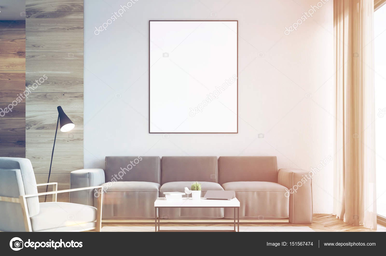 Living room, poster, wood, front, toned — Stock Photo ...