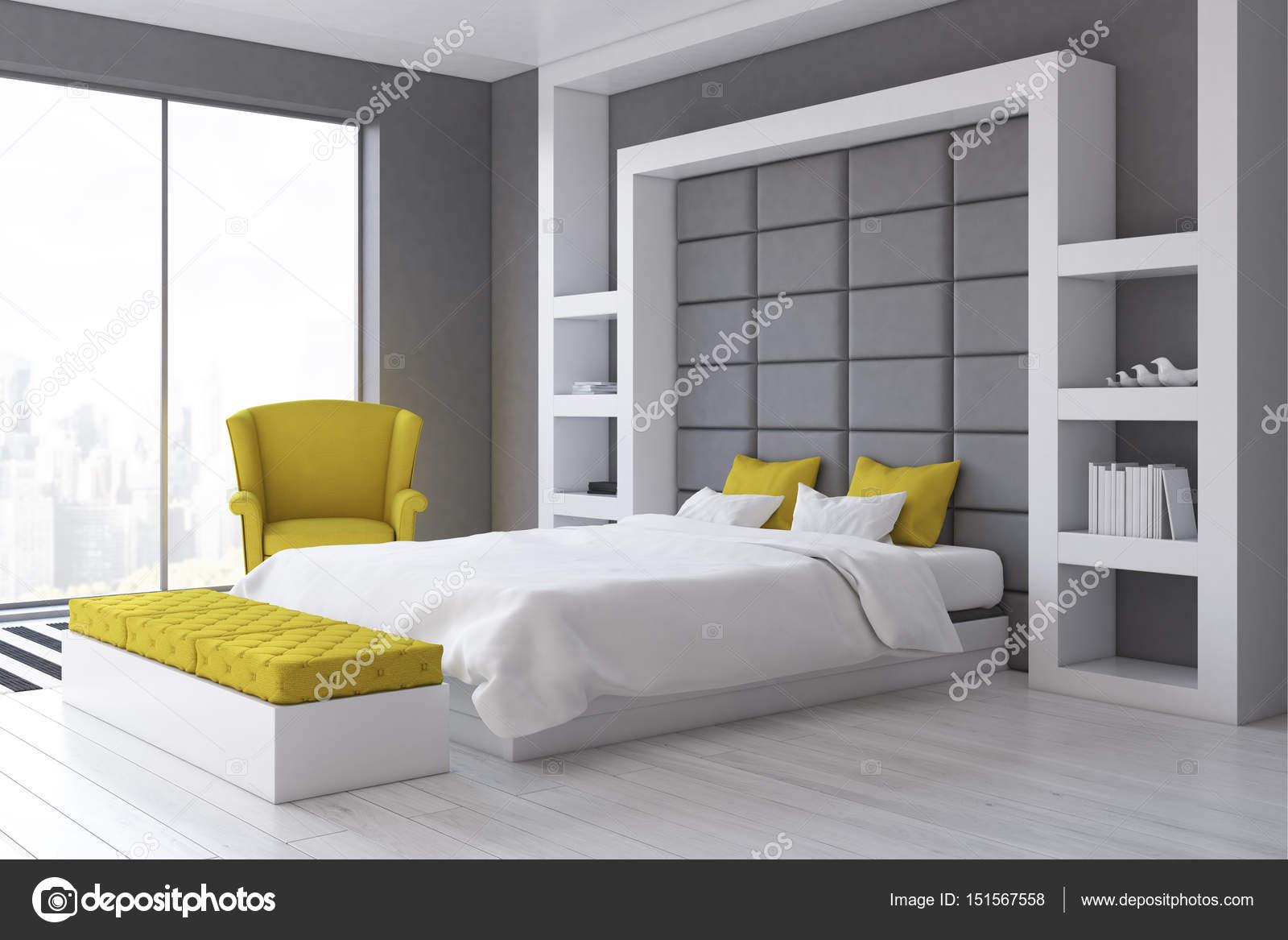 Szare ściany Sypialni Po Stronie Zdjęcie Stockowe