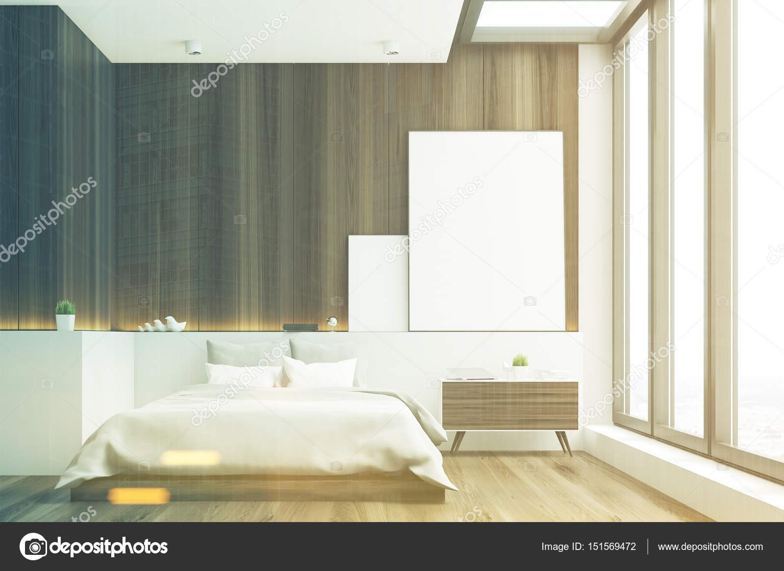 Donkere slaapkamer, hout, voorzijde, afgezwakt — Stockfoto ...