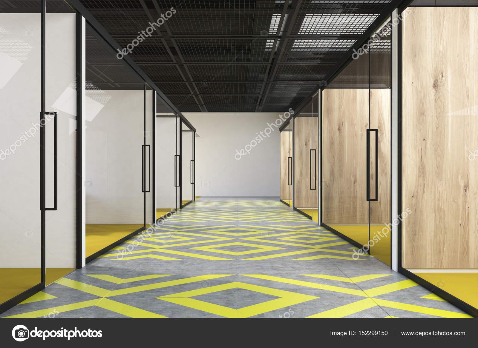Wonderful Flur Grau Decoration Of Büro Mit Einem Gelben Und Grauen Boden
