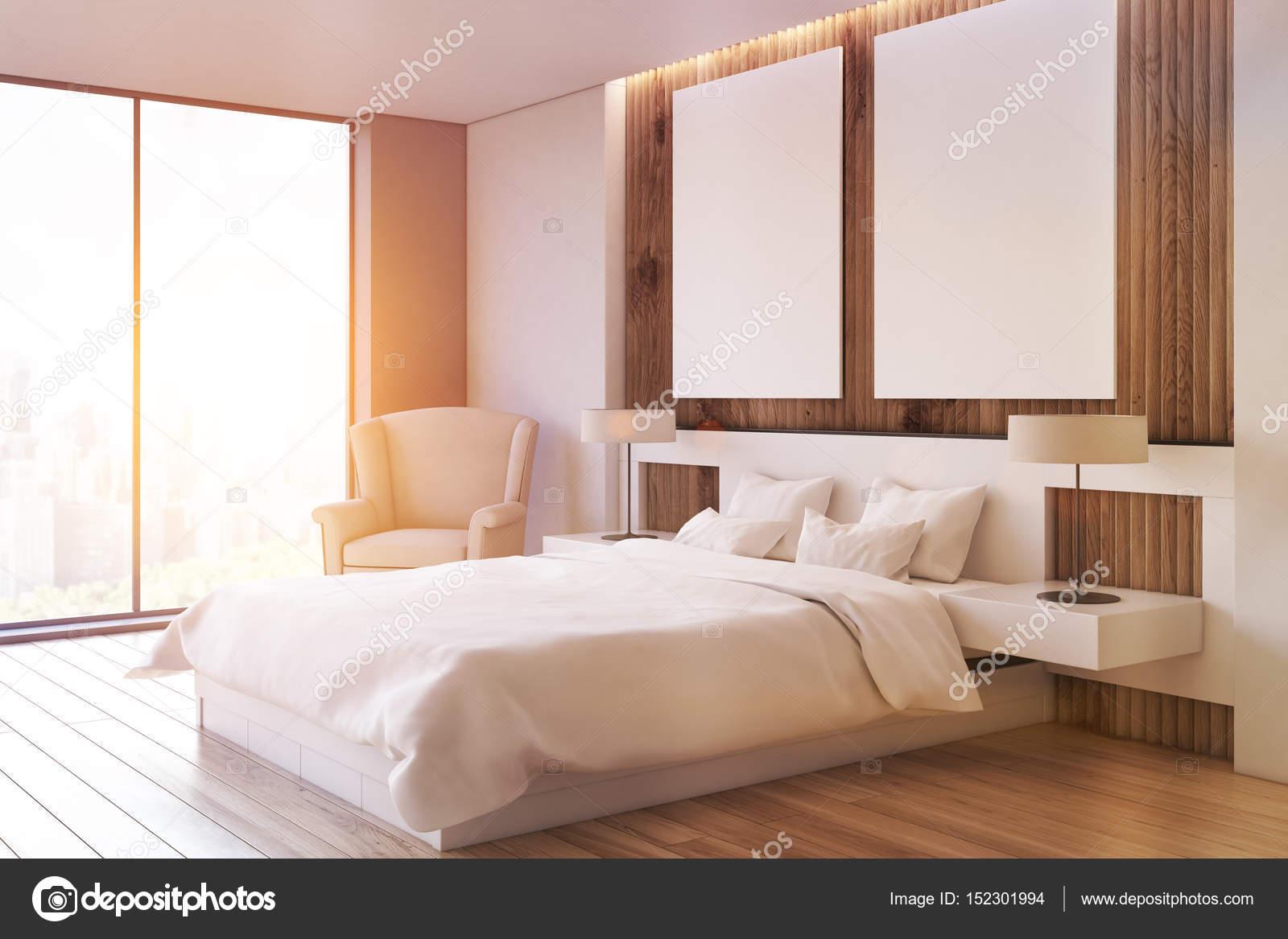 Due lato poltrona, camera da letto, di poster, tonica — Foto Stock ...