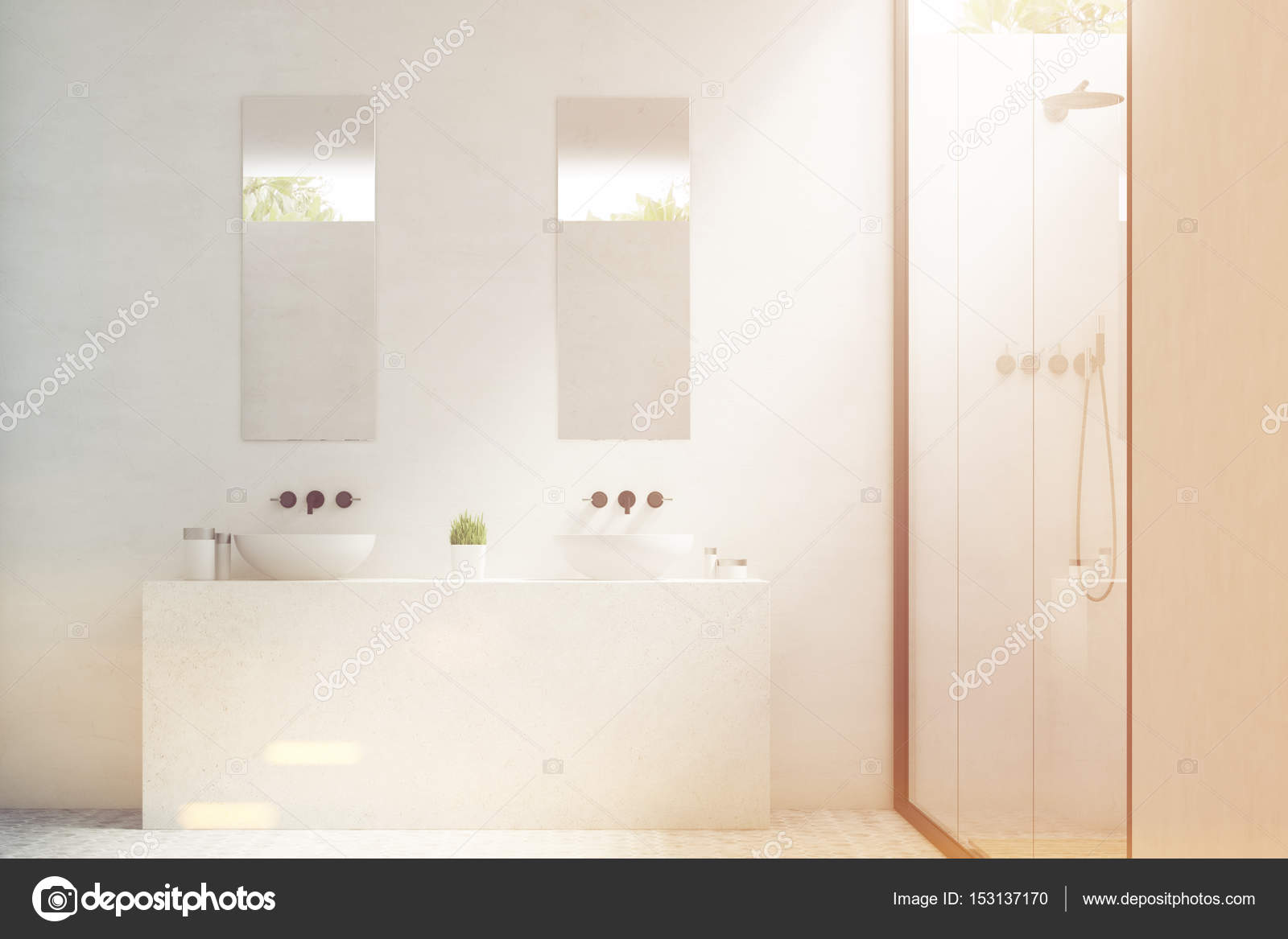 Two bathroom sinks with mirrors, toned — Stock Photo ...
