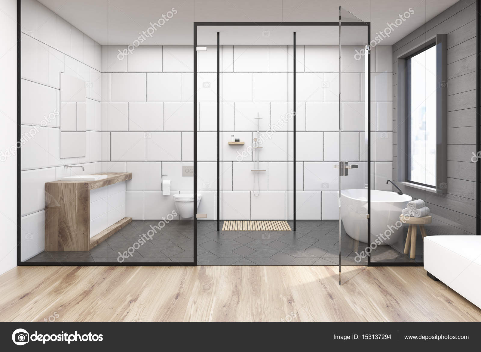 Glazen muur badkamer — Stockfoto © denisismagilov #153137294