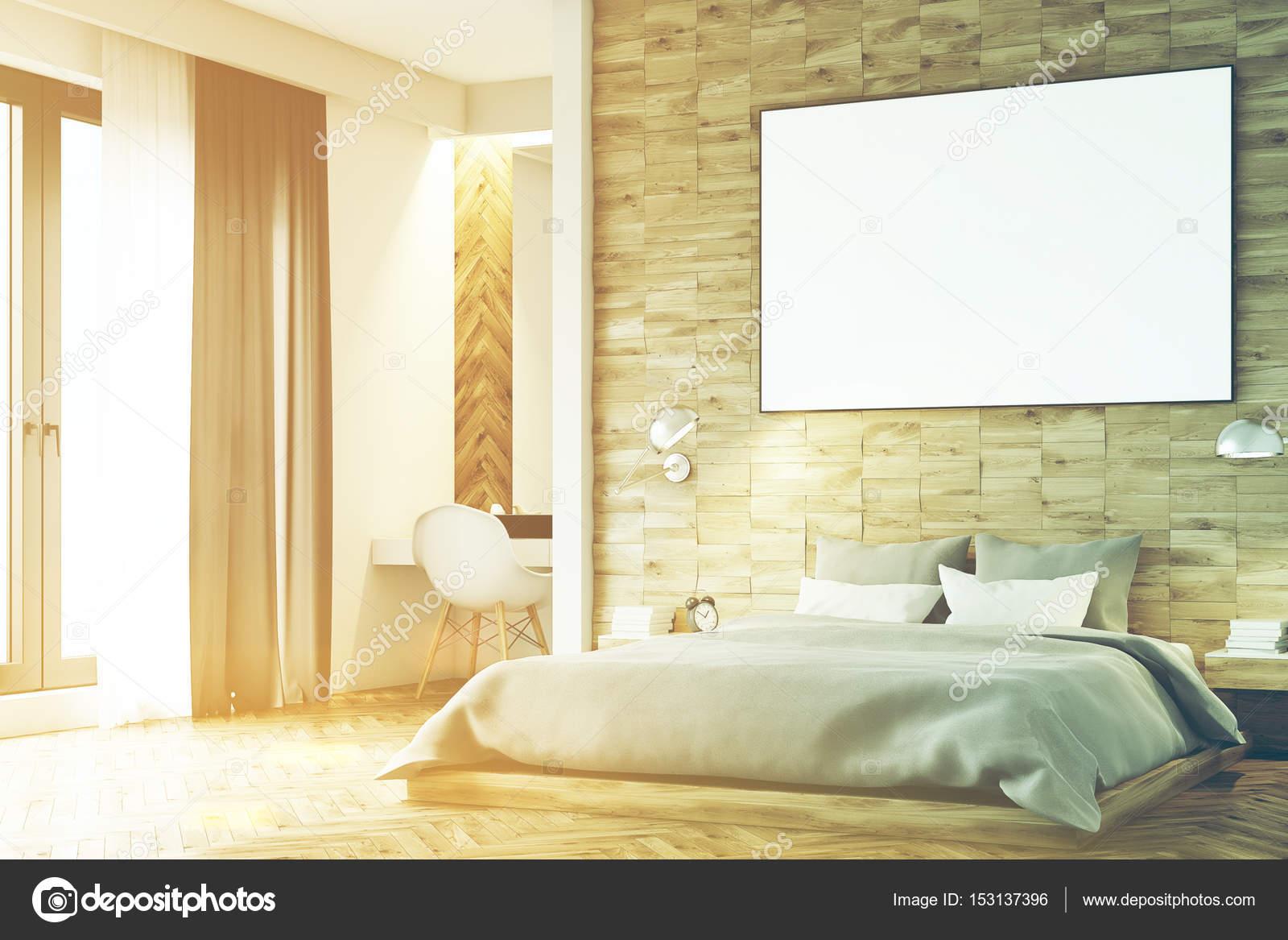 Chambre à coucher en bois clair, coin, tonifié — Photographie ...