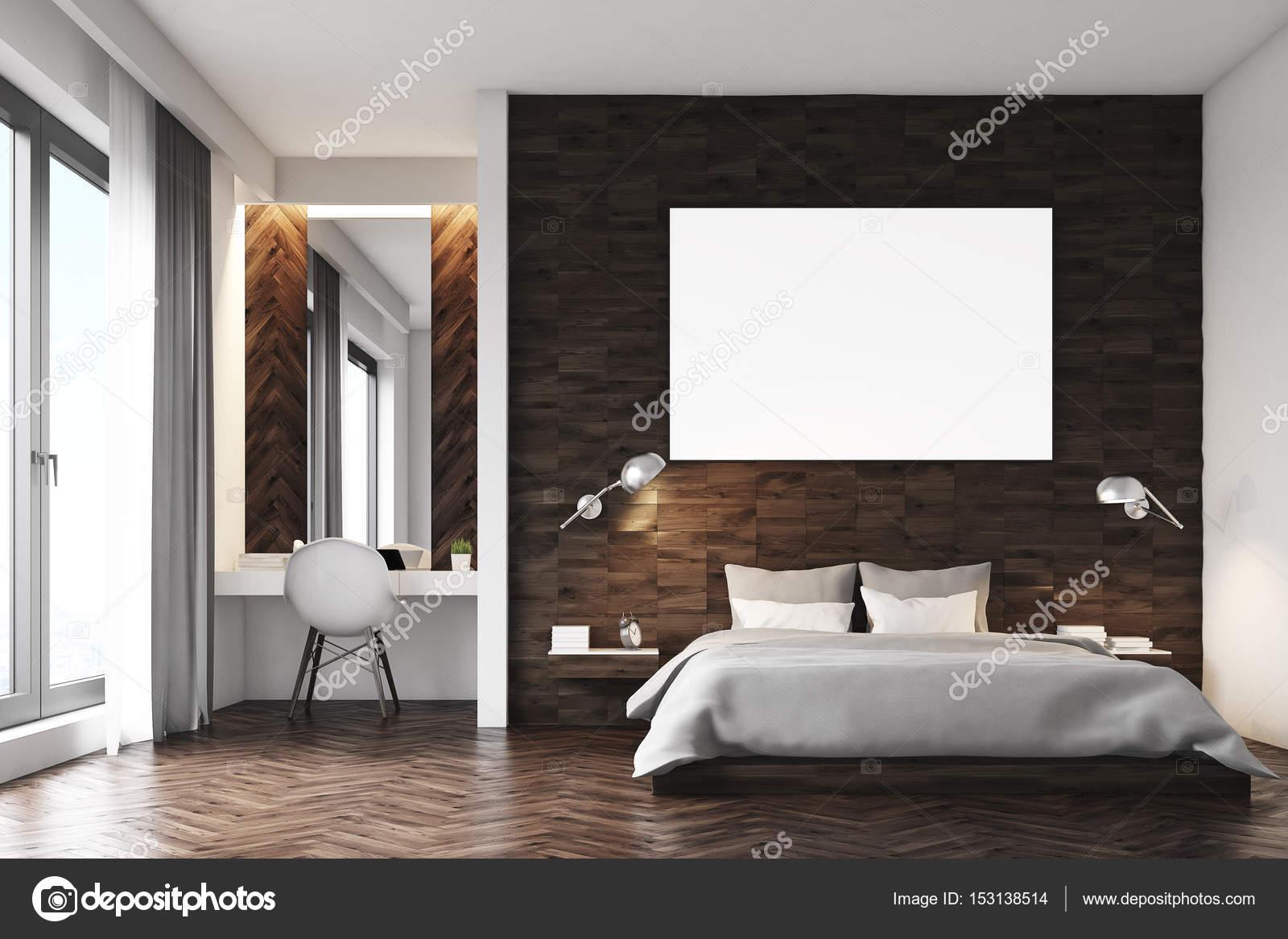 Dormitorio de madera oscuro, frente — Fotos de Stock ...