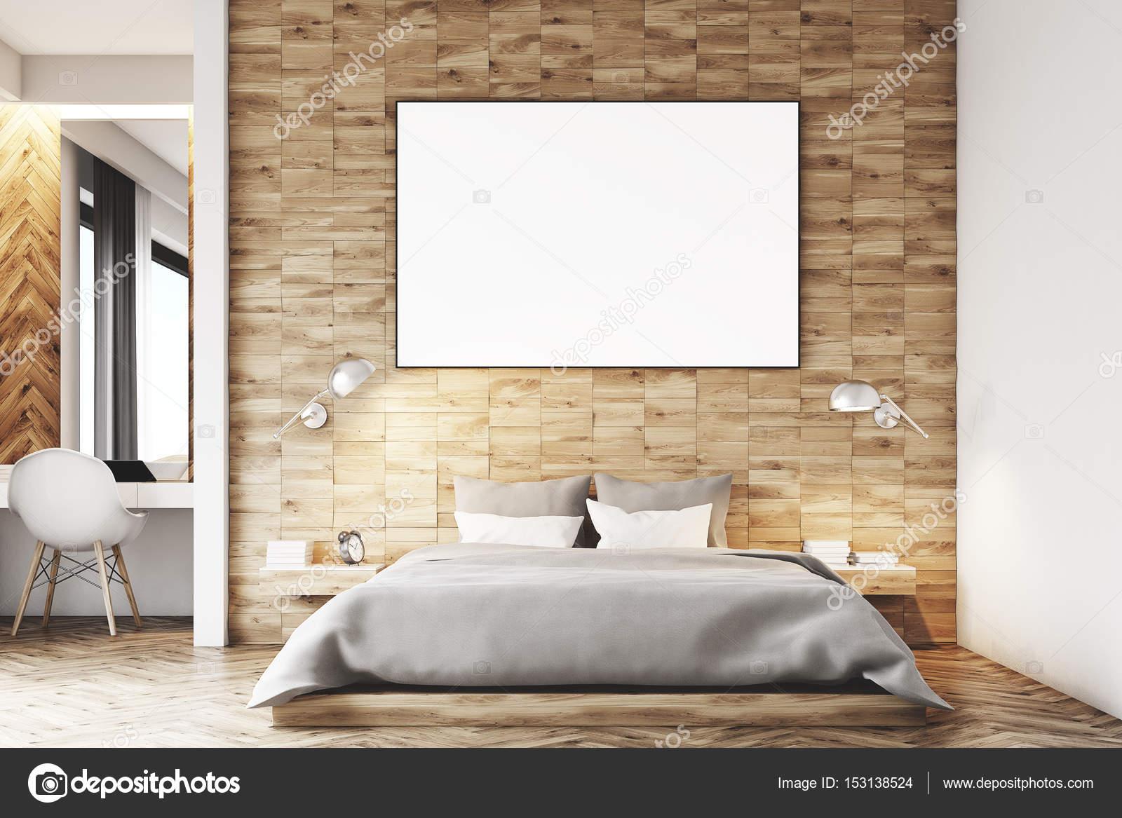 Luce in legno camera da letto, primi piani — Foto Stock ...