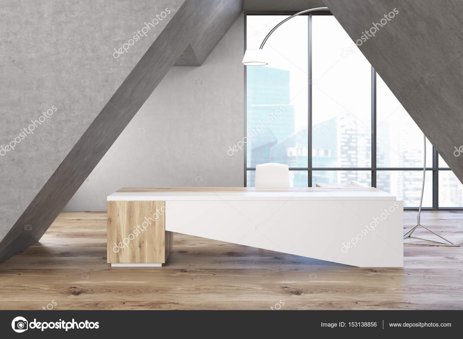 Tavolo ufficio triangolare grigio bianco u foto stock