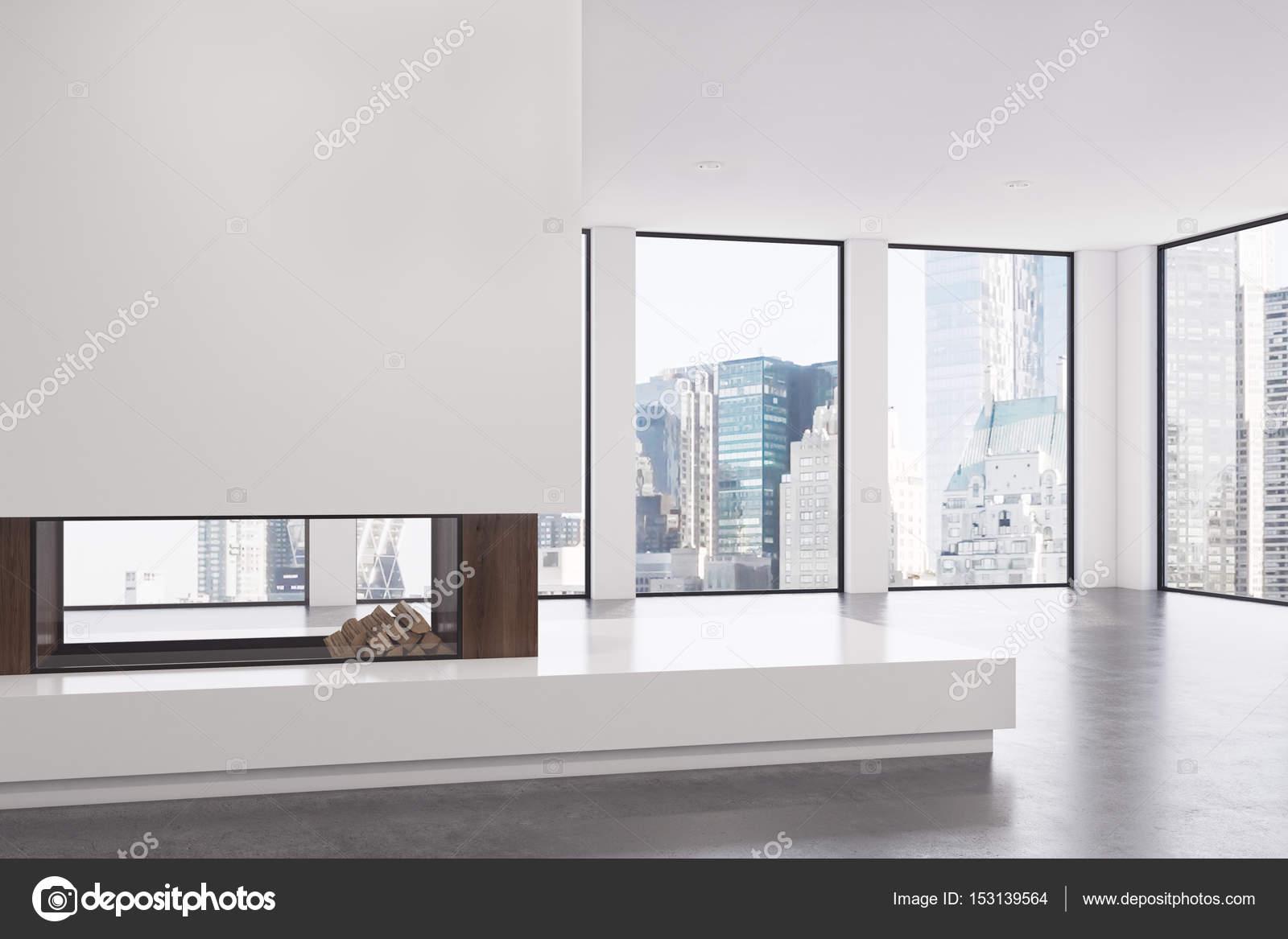 Leeren Wohnzimmer Mit Kamin Ecke Stockfoto C Denisismagilov