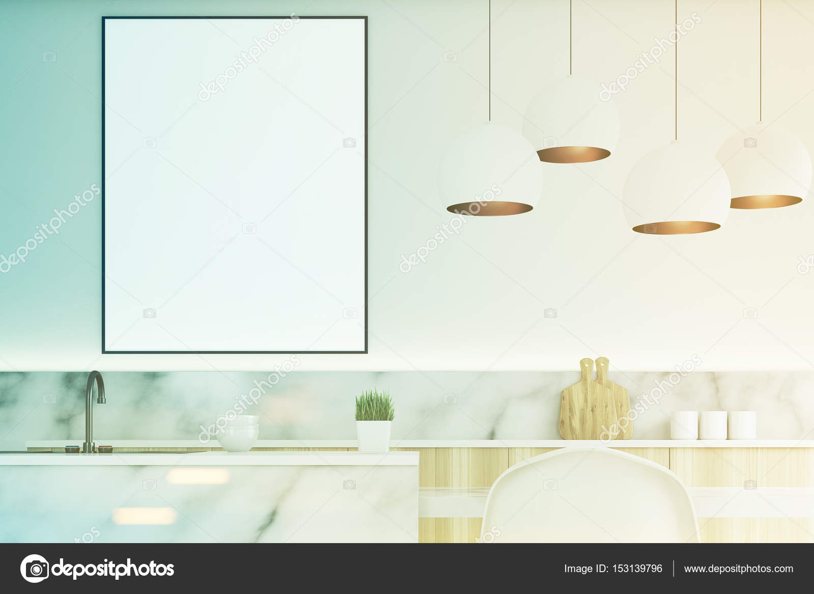 Moderne küche mit poster nah getönt u stockfoto