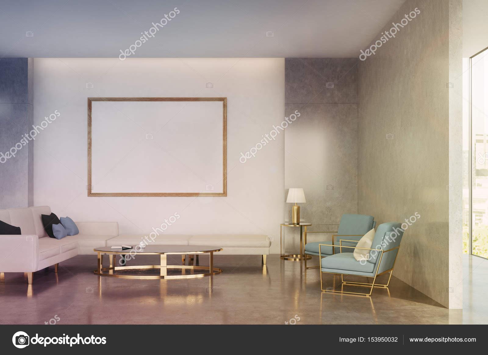 Interior Da Sala Azul Em Tons Stock Photo Denisismagilov 153950032 -> Sala De Estar Pequena Azul