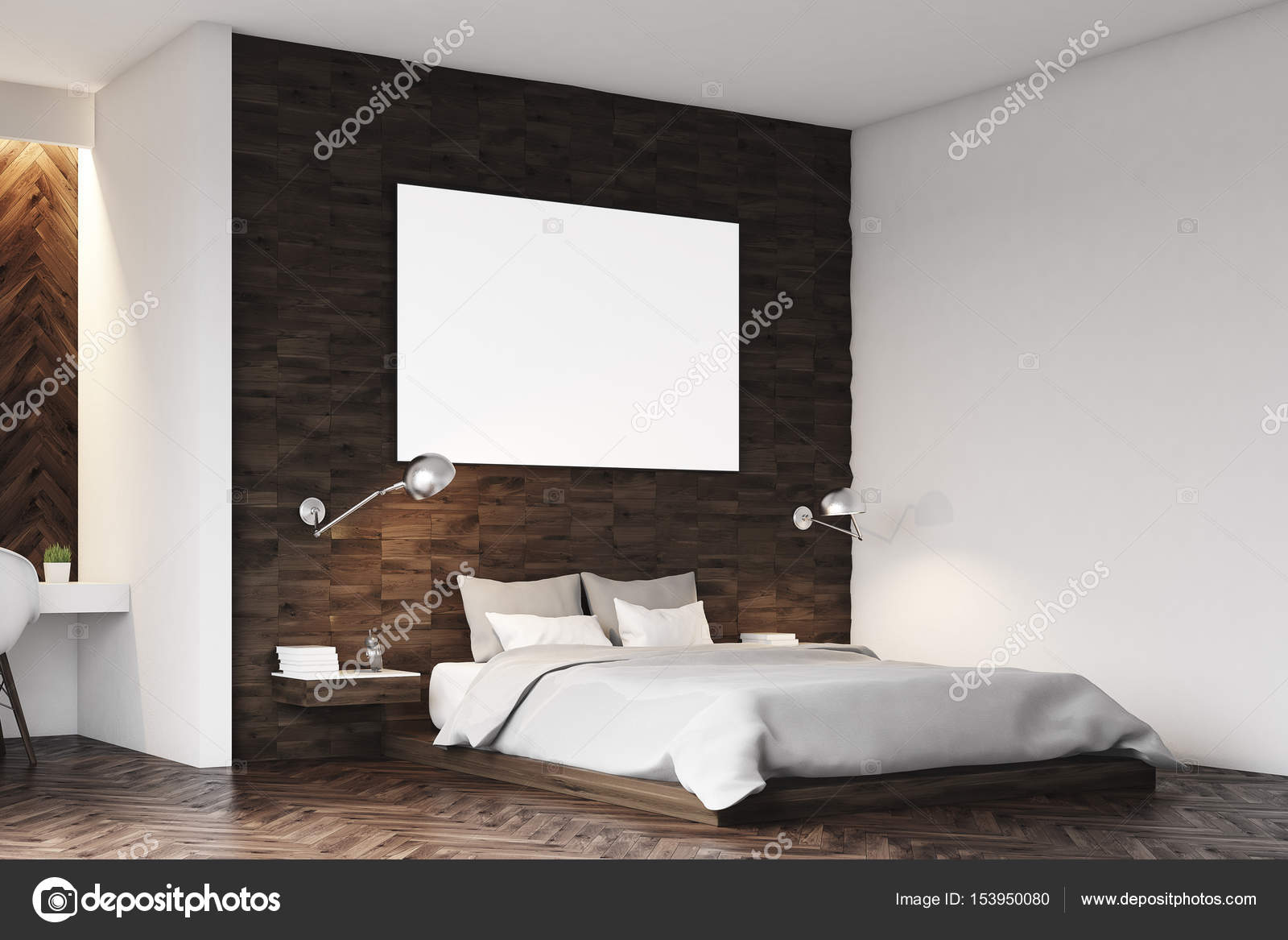 Dunkles Holz Schlafzimmer, Seite — Stockfoto © denisismagilov #153950080