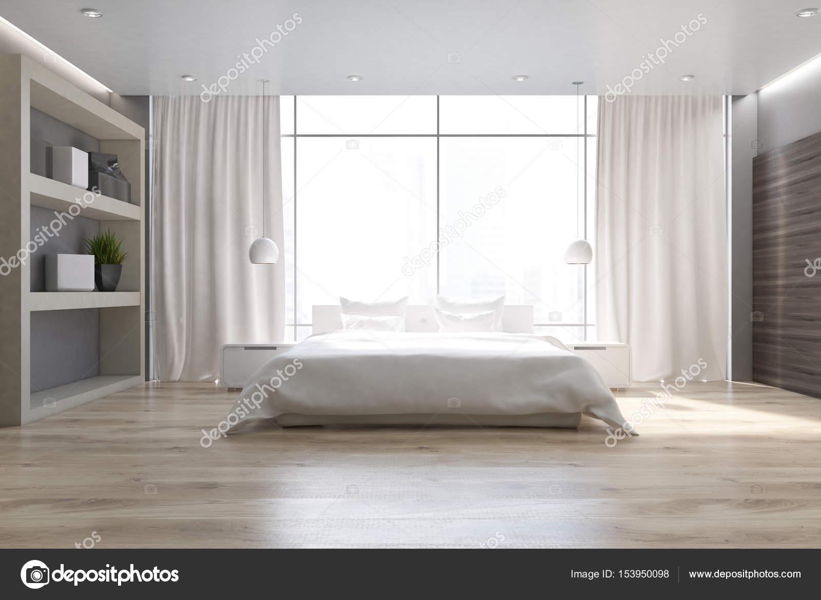 Bianco camera da letto, pavimento in legno, anteriore — Foto Stock ...