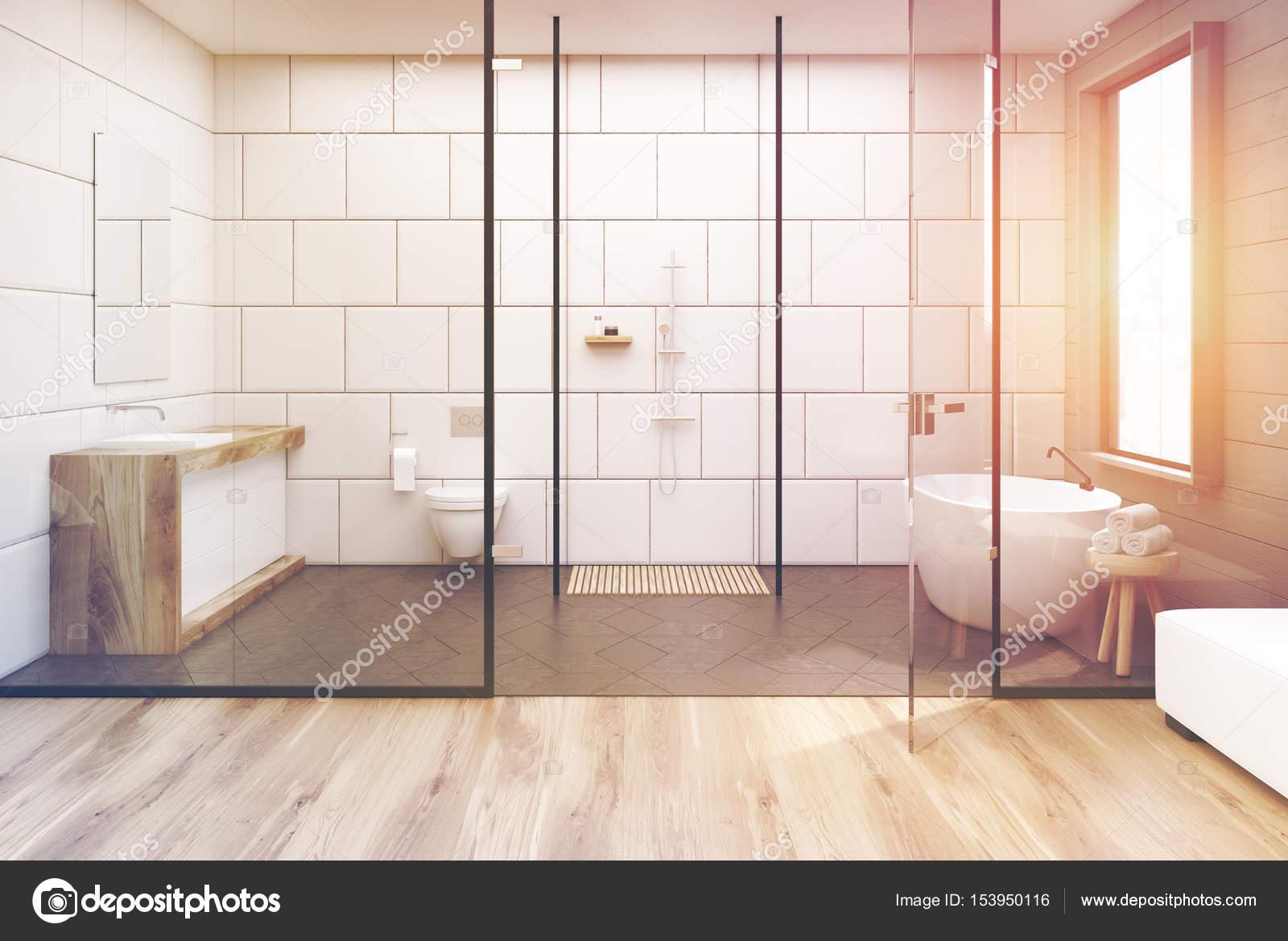Glazen muur badkamer, afgezwakt — Stockfoto © denisismagilov #153950116