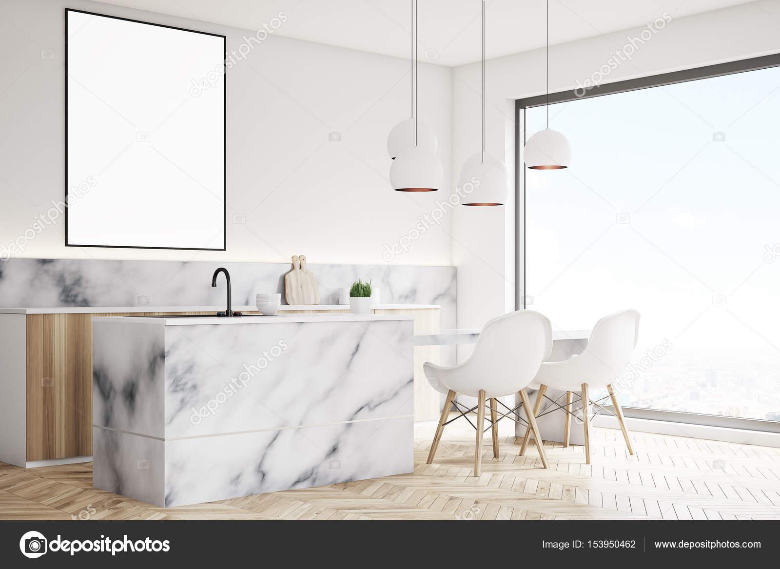 Moderne küche mit poster seite u stockfoto denisismagilov