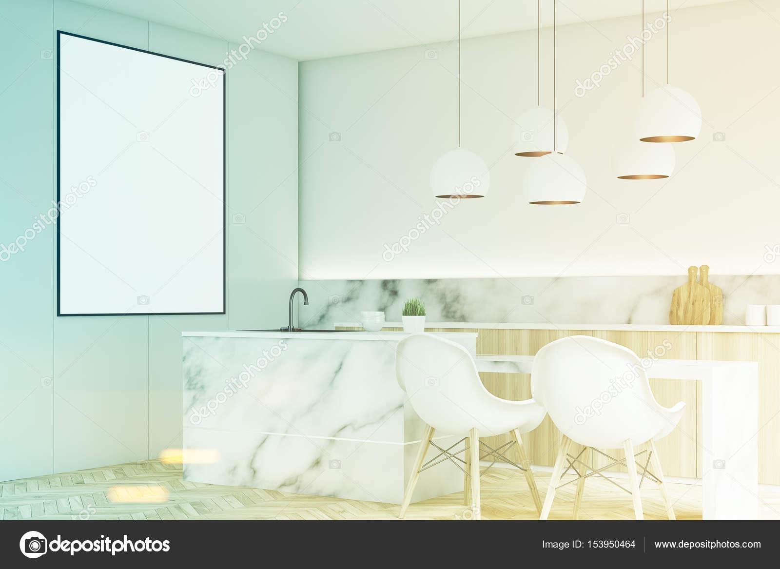 Moderne Küche mit Poster, Ecke, getönt — Stockfoto ...