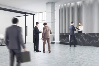 Black reception and meeting room, people