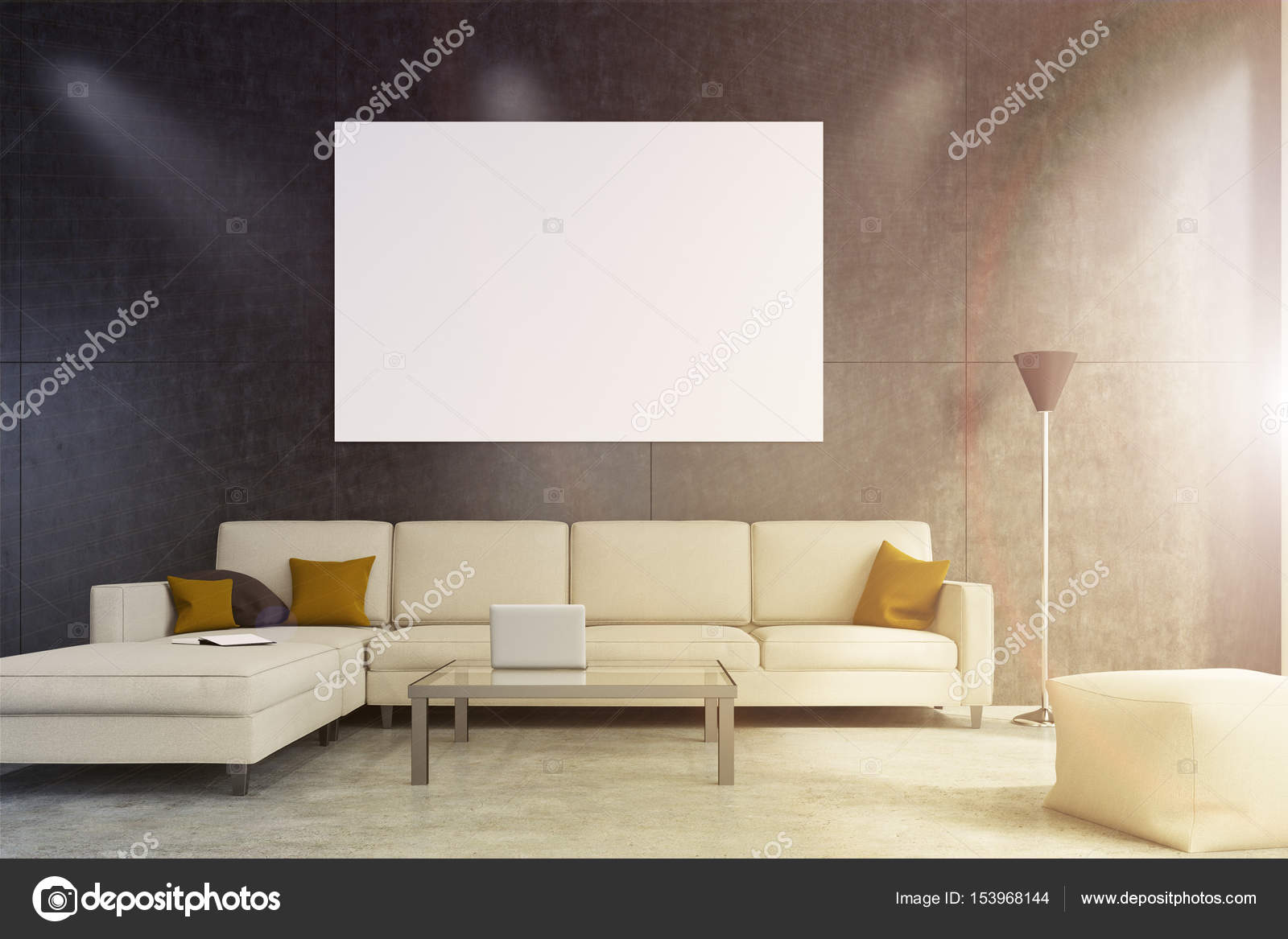 Fantastic Beige Sofa Living Room With Poster Stock Photo Gmtry Best Dining Table And Chair Ideas Images Gmtryco