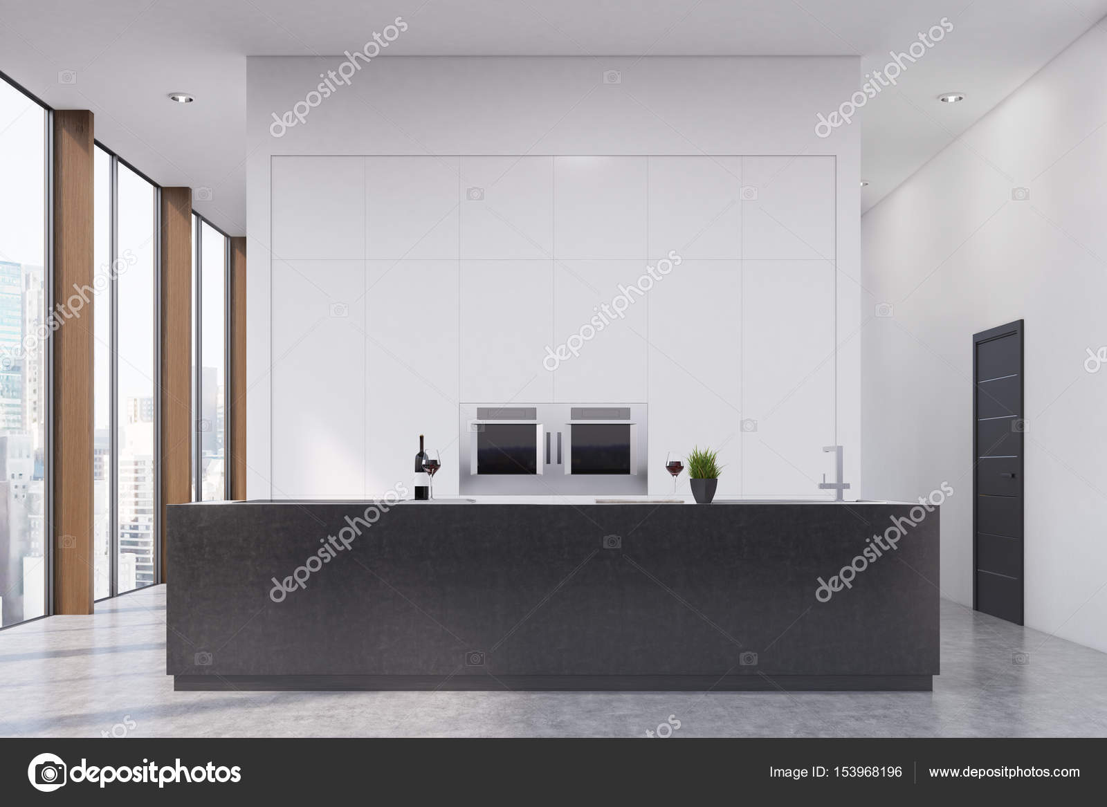 Kitchen with a bar, front — Stock Photo © denisismagilov #153968196