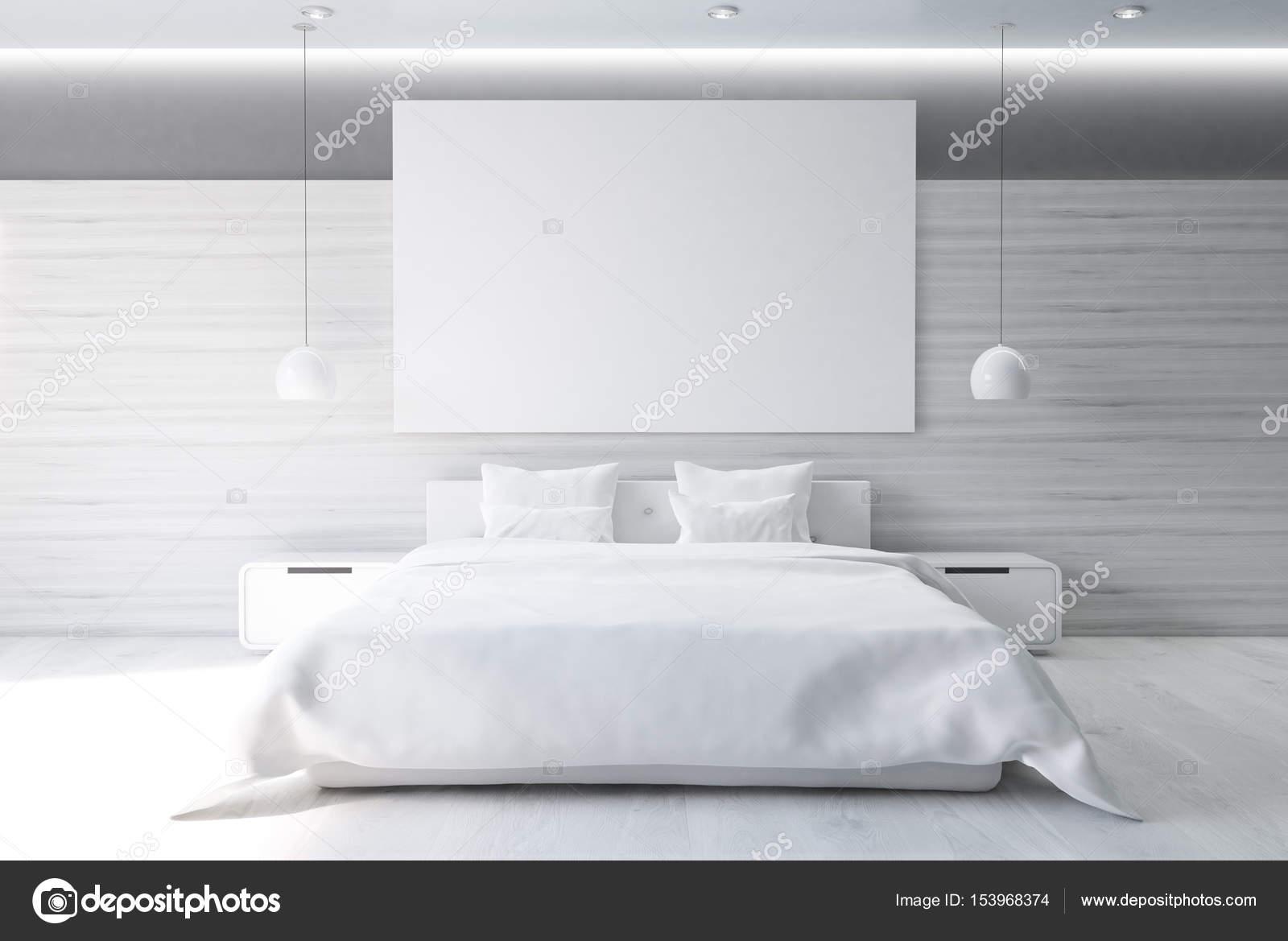 Graue Schlafzimmer mit Poster, vorne — Stockfoto © denisismagilov ...