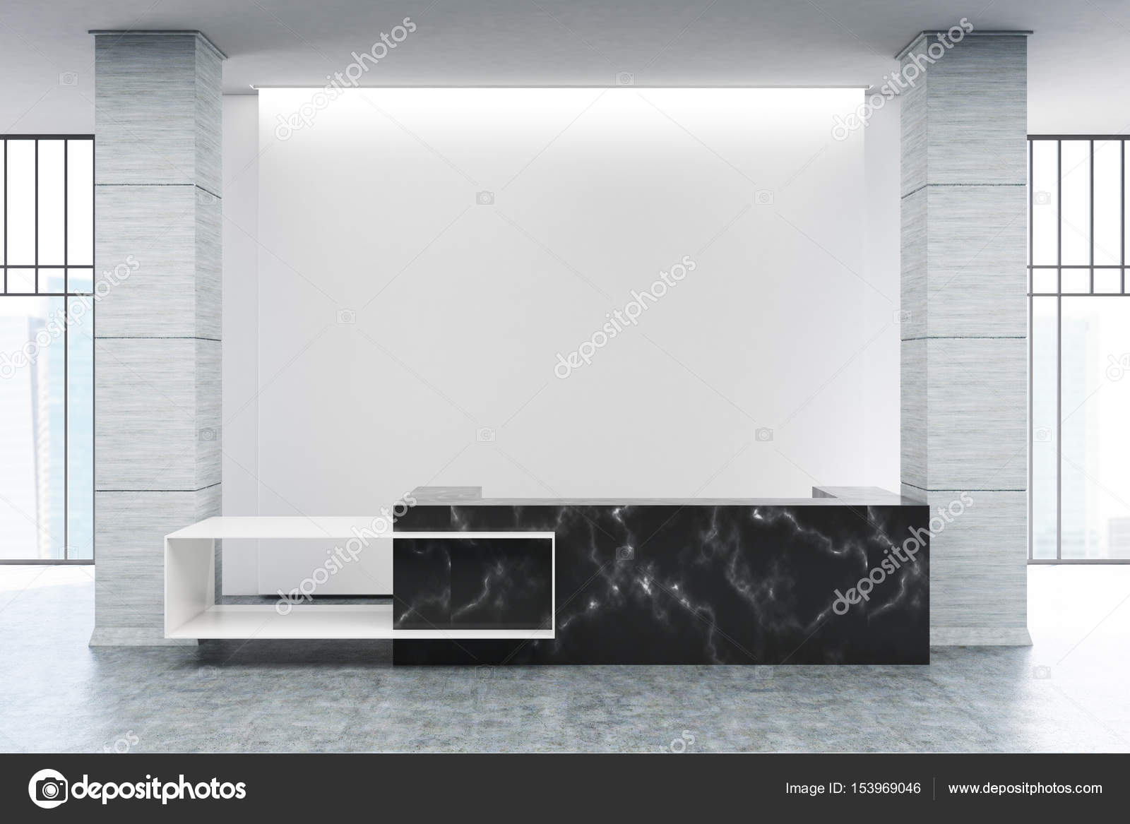 Comptoir de réception en marbre noir u2014 photographie denisismagilov