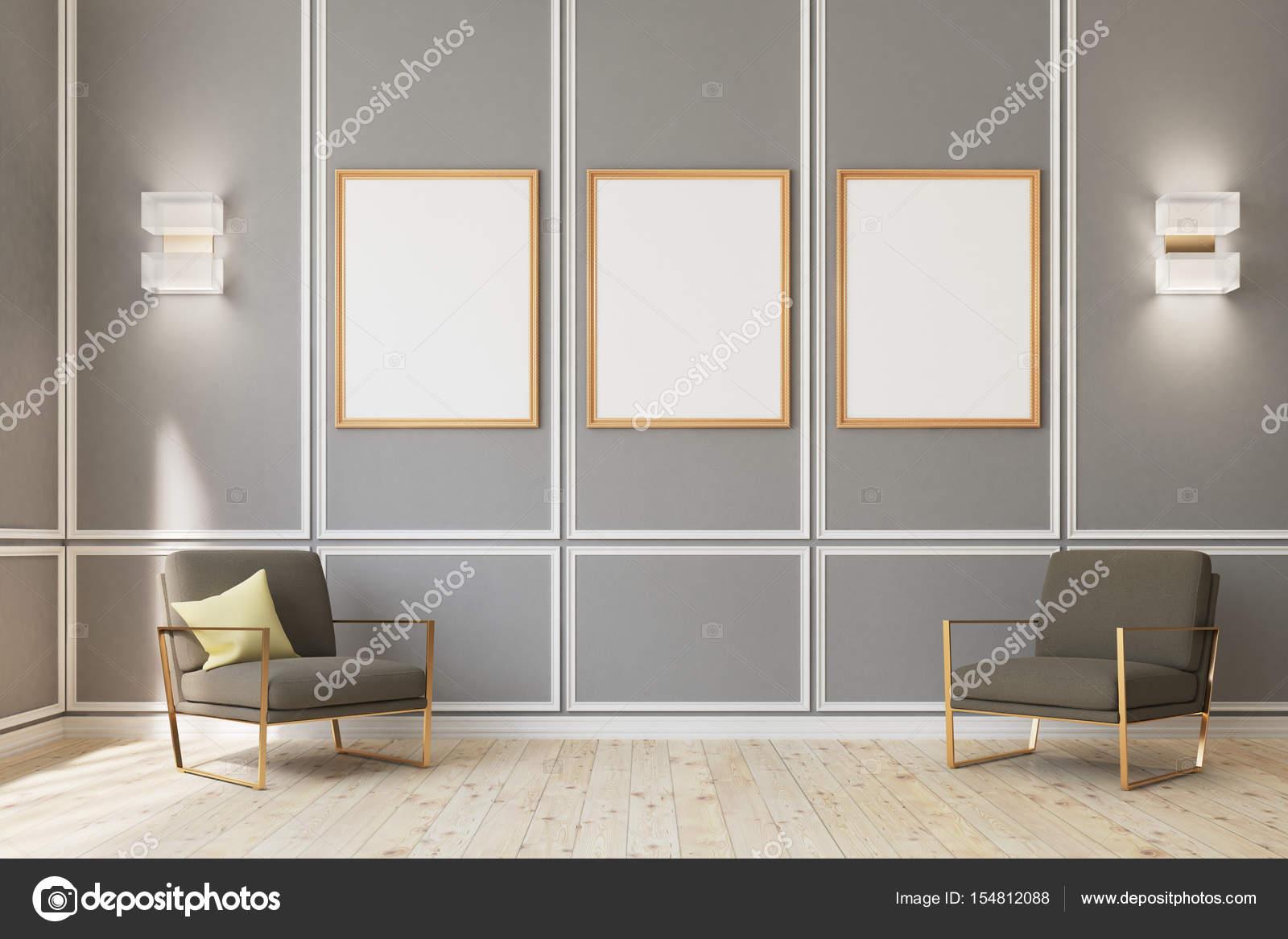 Drei gerahmte Poster auf graue Wand, Sessel — Stockfoto ...