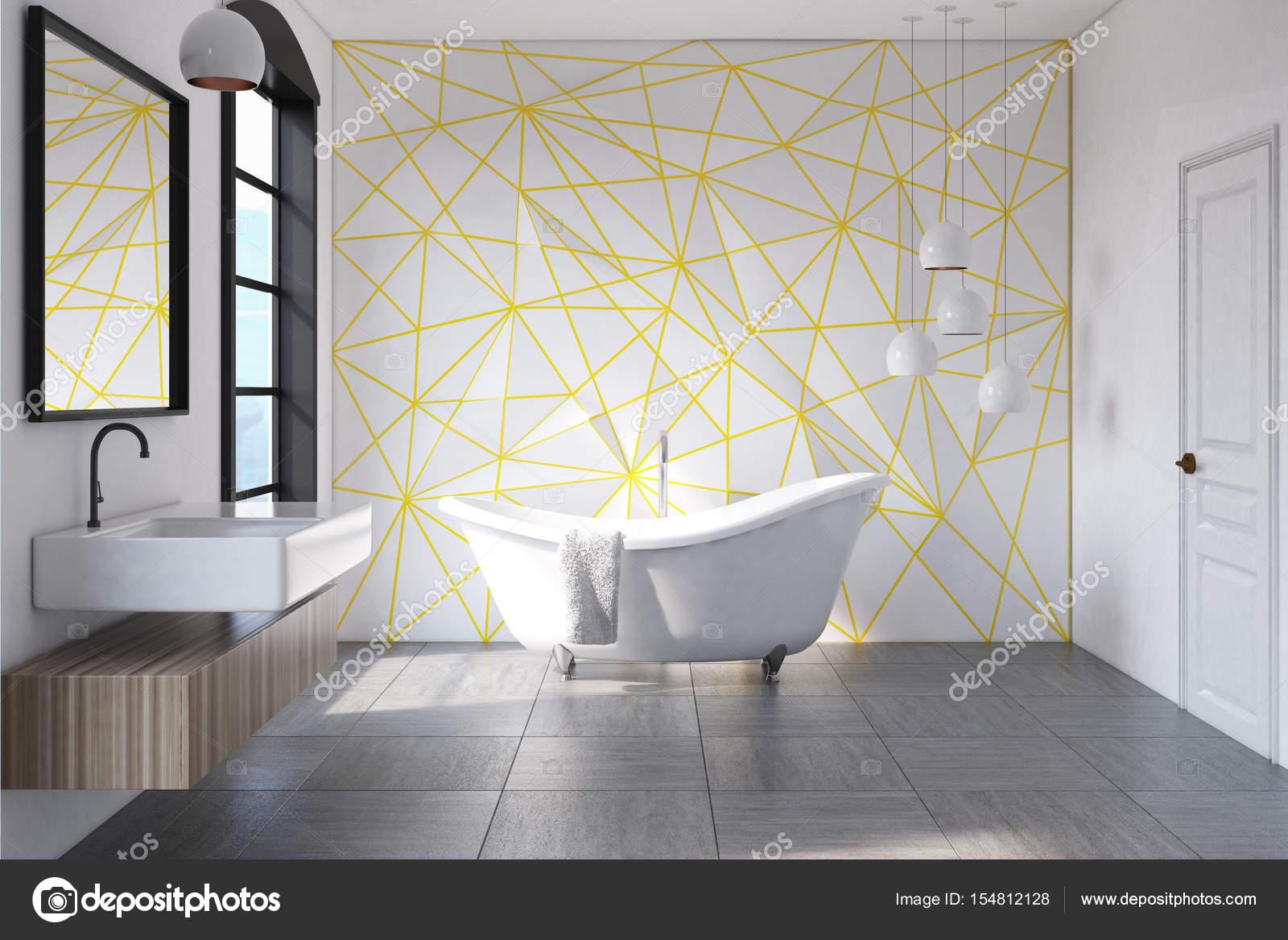Weiße Badezimmer gelben Muster, konkrete — Stockfoto ...