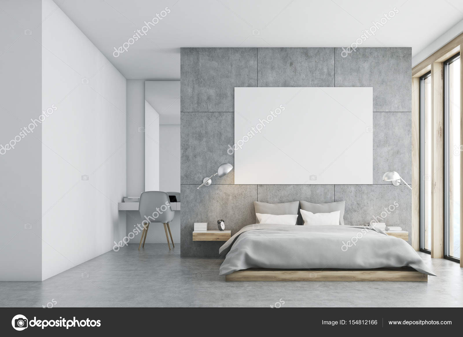 Camera da letto grigio con poster e studio — Foto Stock ...