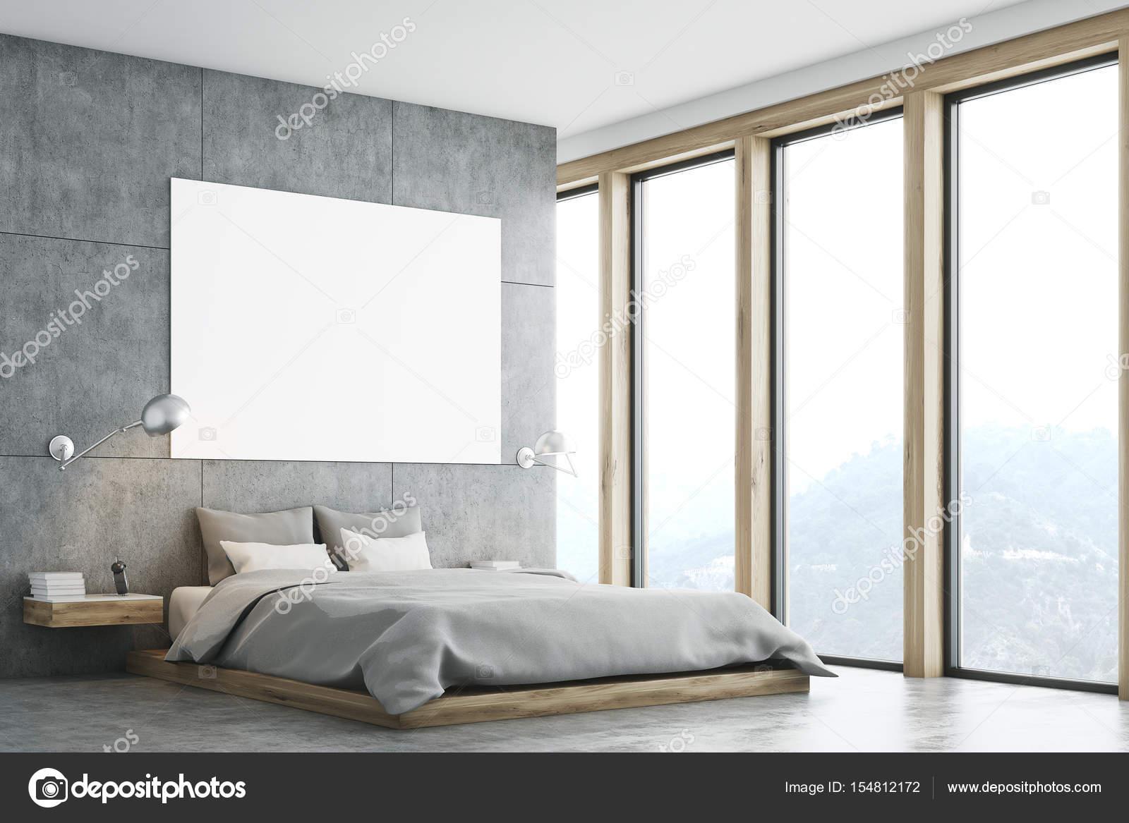 Sypialnia Szary Z Plakatu I Okna Zdjęcie Stockowe