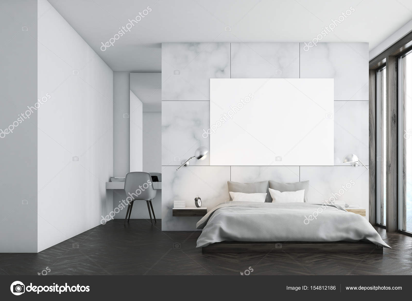 Camera da letto in marmo con poster e studio — Foto Stock ...