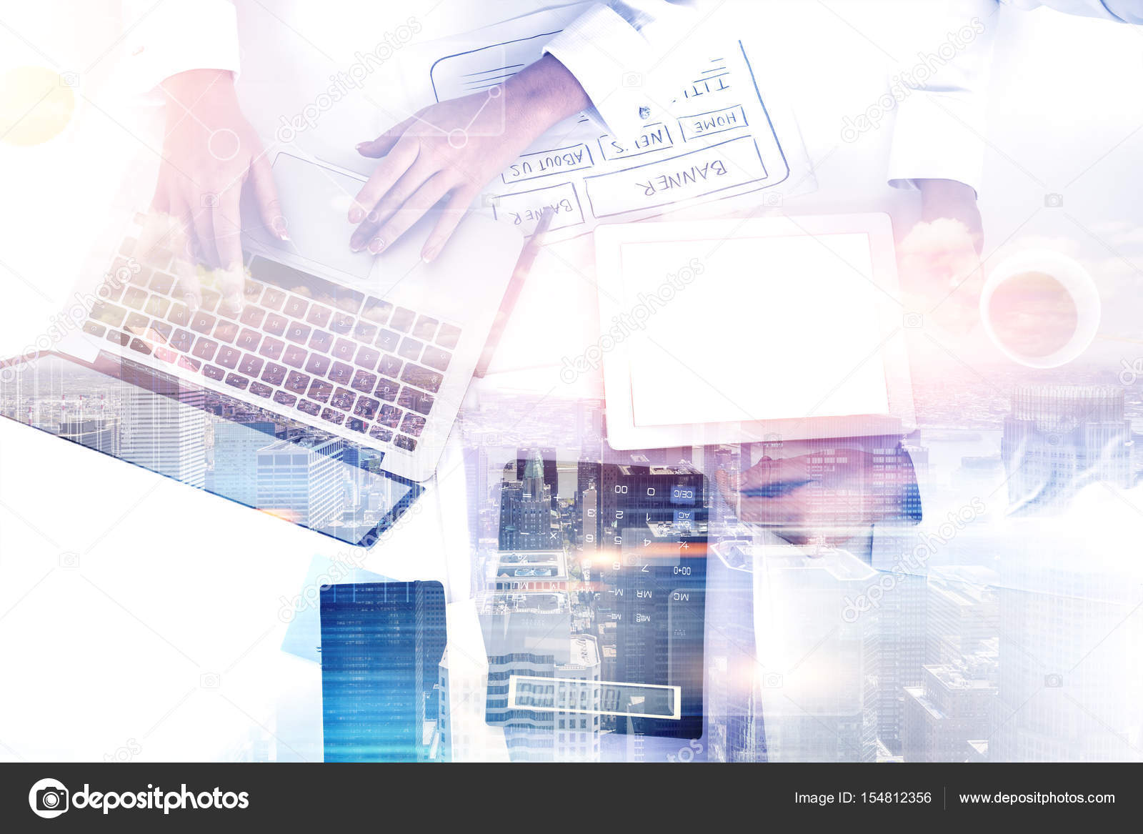 Top view of woman web designer, city — Stock Photo