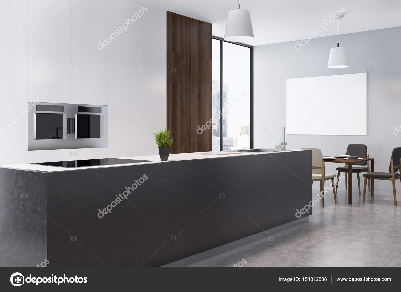 Studioküche und Esszimmer mit Poster, Ecke — Stockfoto ...