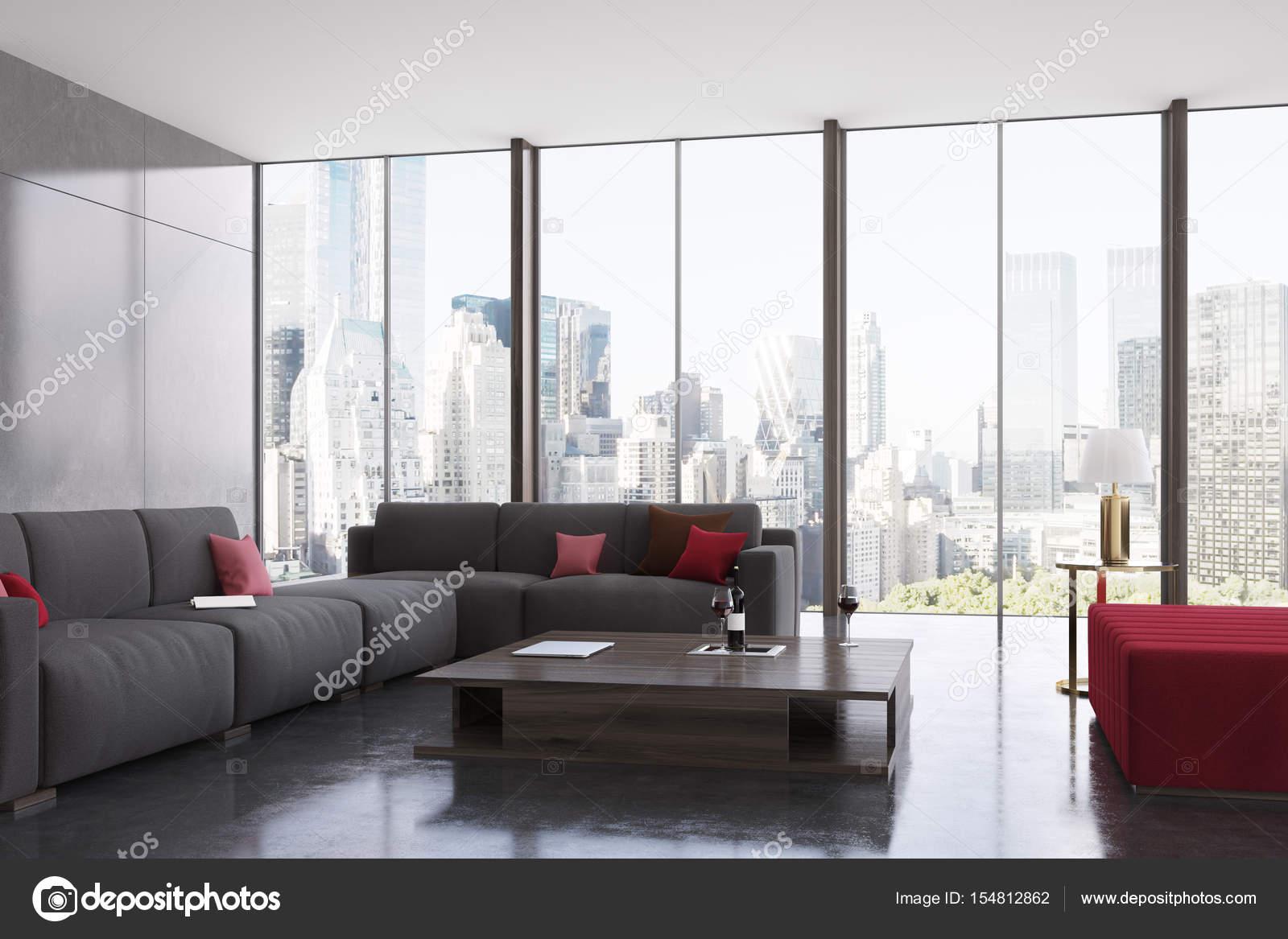 Panoramisch woonkamer grijs en rood — Stockfoto © denisismagilov ...