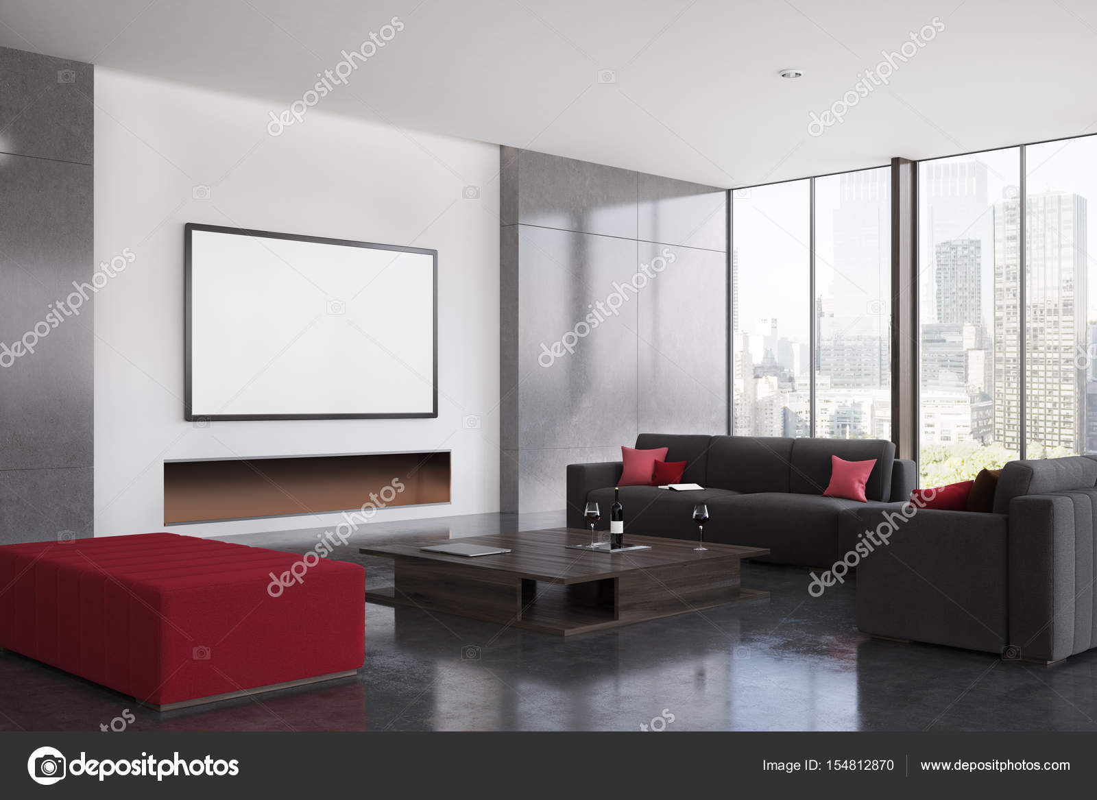 Red white black living room ideas | Red and black living ...