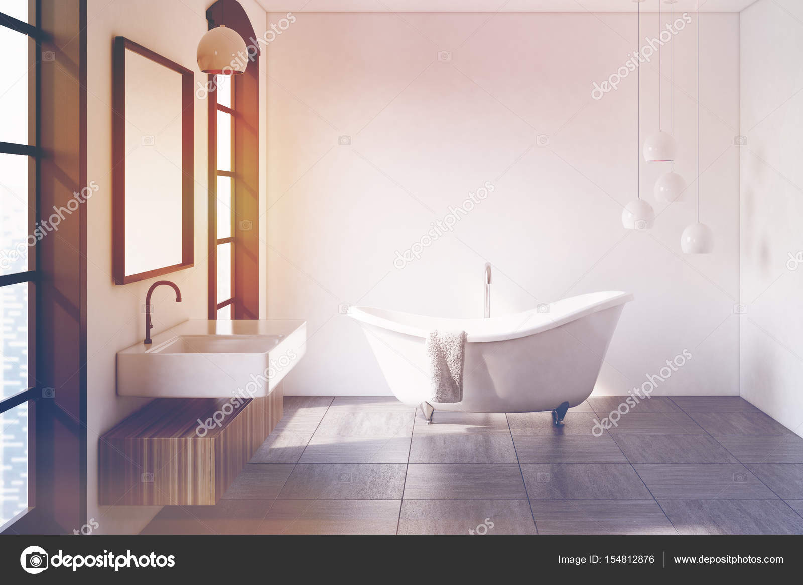 Witte badkamer, lampen, afgezwakt — Stockfoto © denisismagilov ...