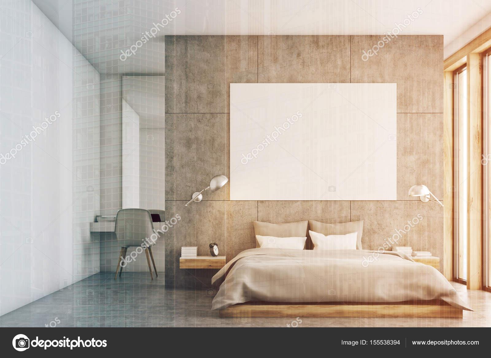 Camera da letto grigio con poster e studio tonica foto for Camera letto e studio