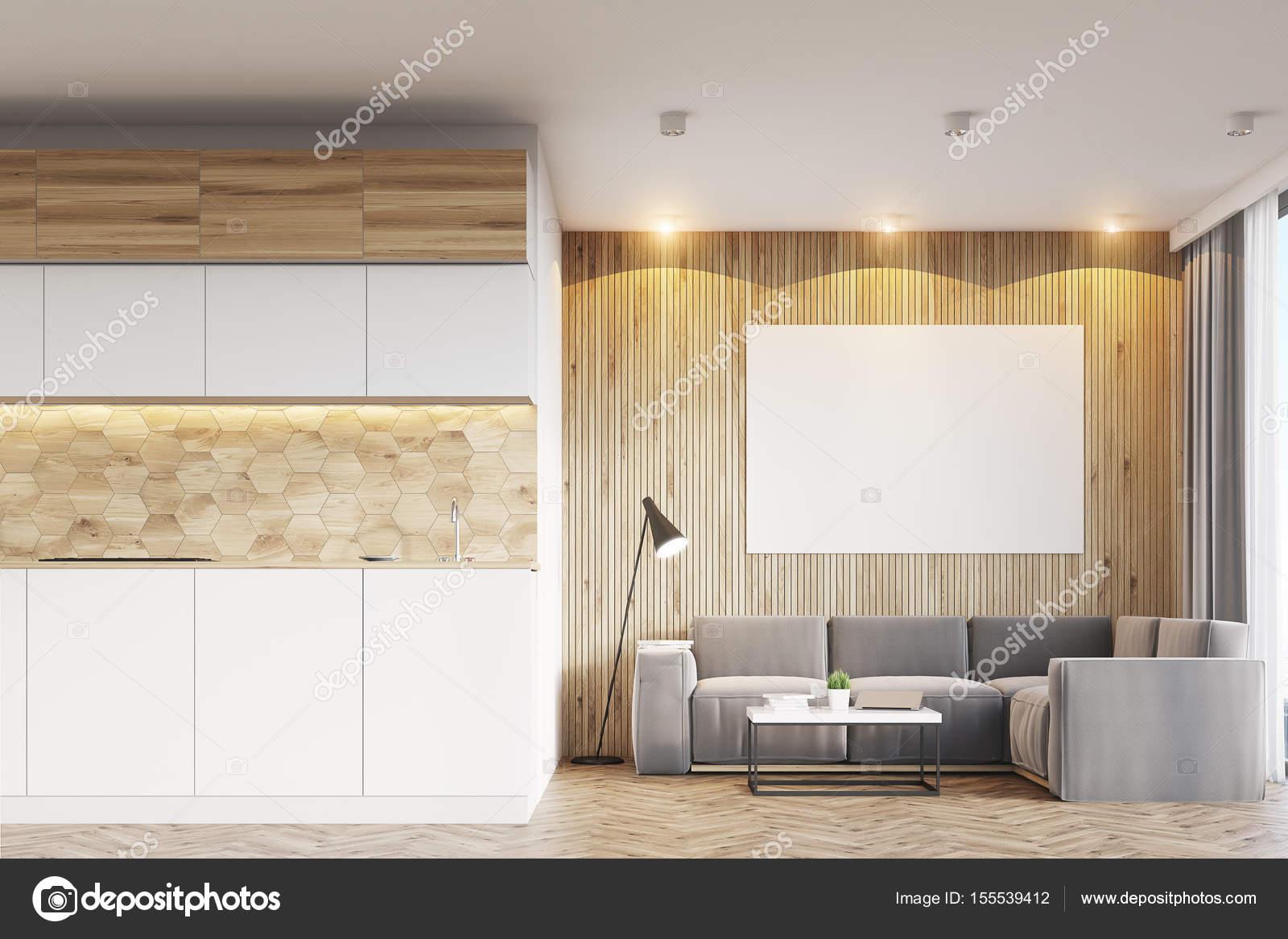 Helles Holz Wohnzimmer Und Küche Stockfoto Denisismagilov 155539412