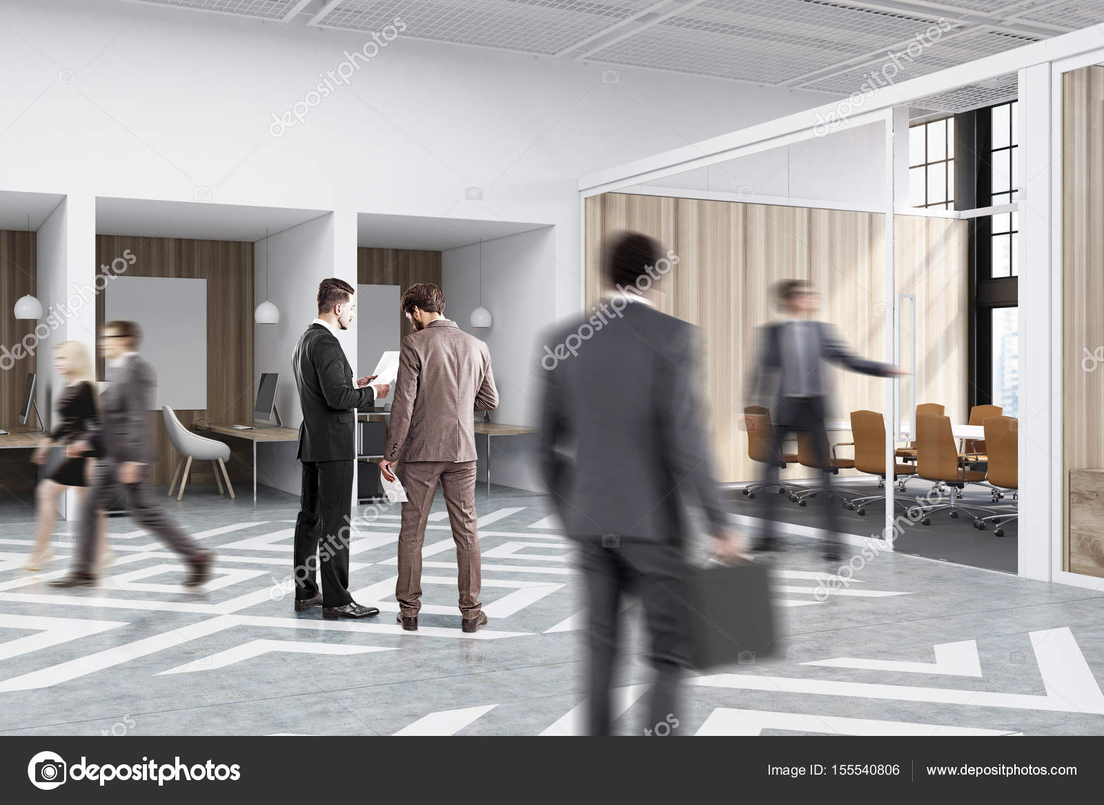 People Near Office Cubicles In An With White And Wooden Walls There Are Blank Vertical Pictures Each Of Them A Desk Computer