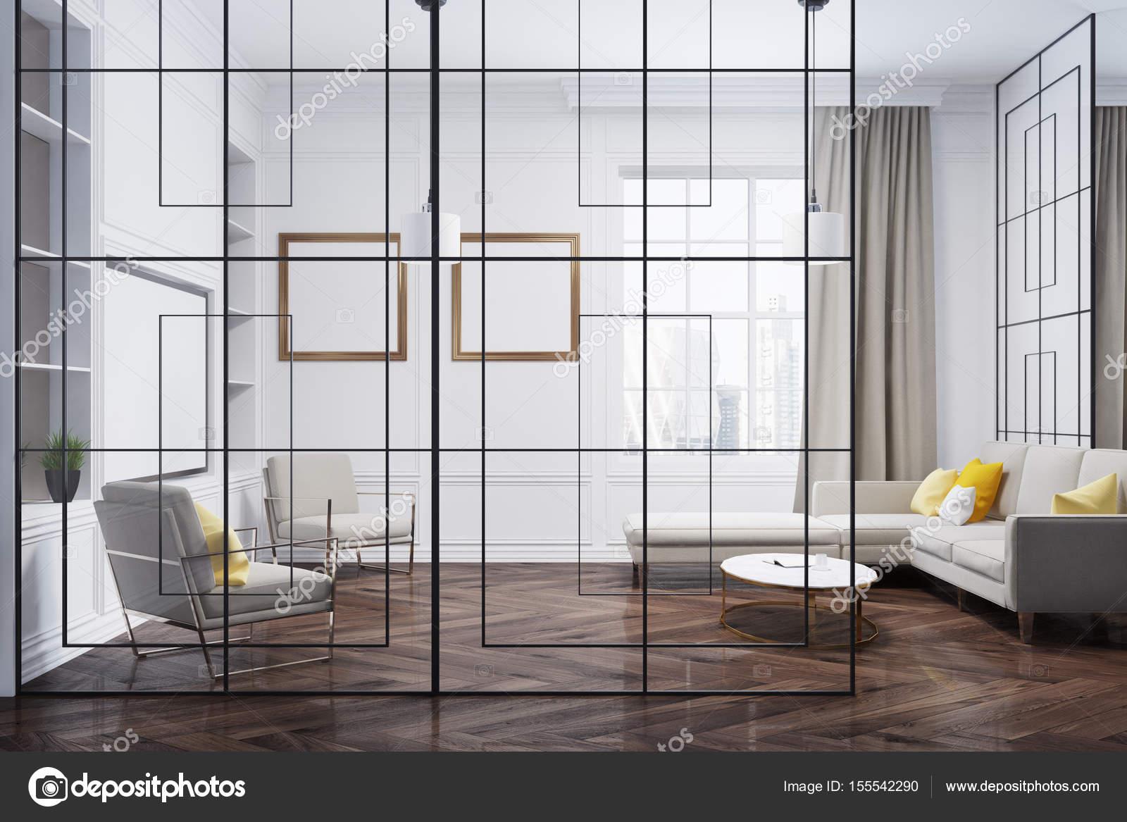 Glas-Wand-Galerie-Wohnzimmer — Stockfoto © denisismagilov #155542290