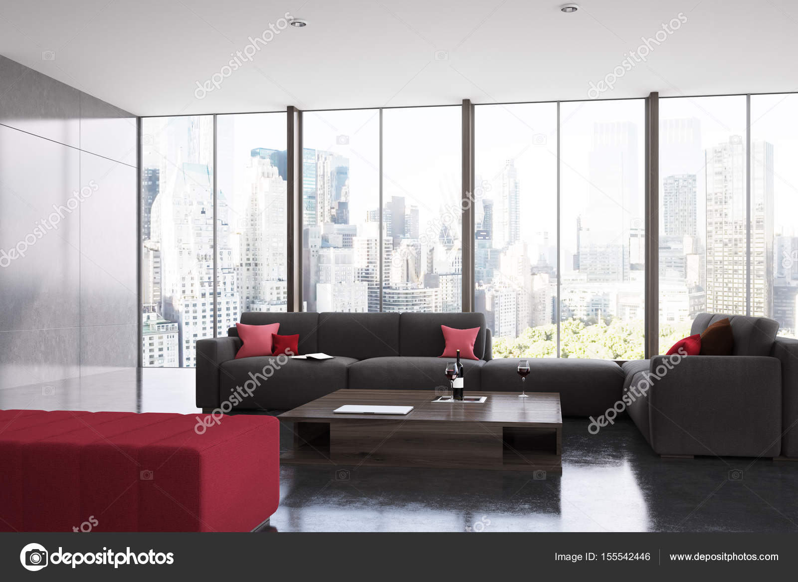Red and black living room panoramic — Stock Photo ...