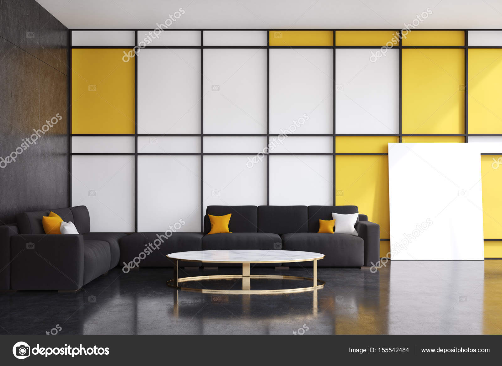 Black and yellow living room, front view — Stock Photo ...
