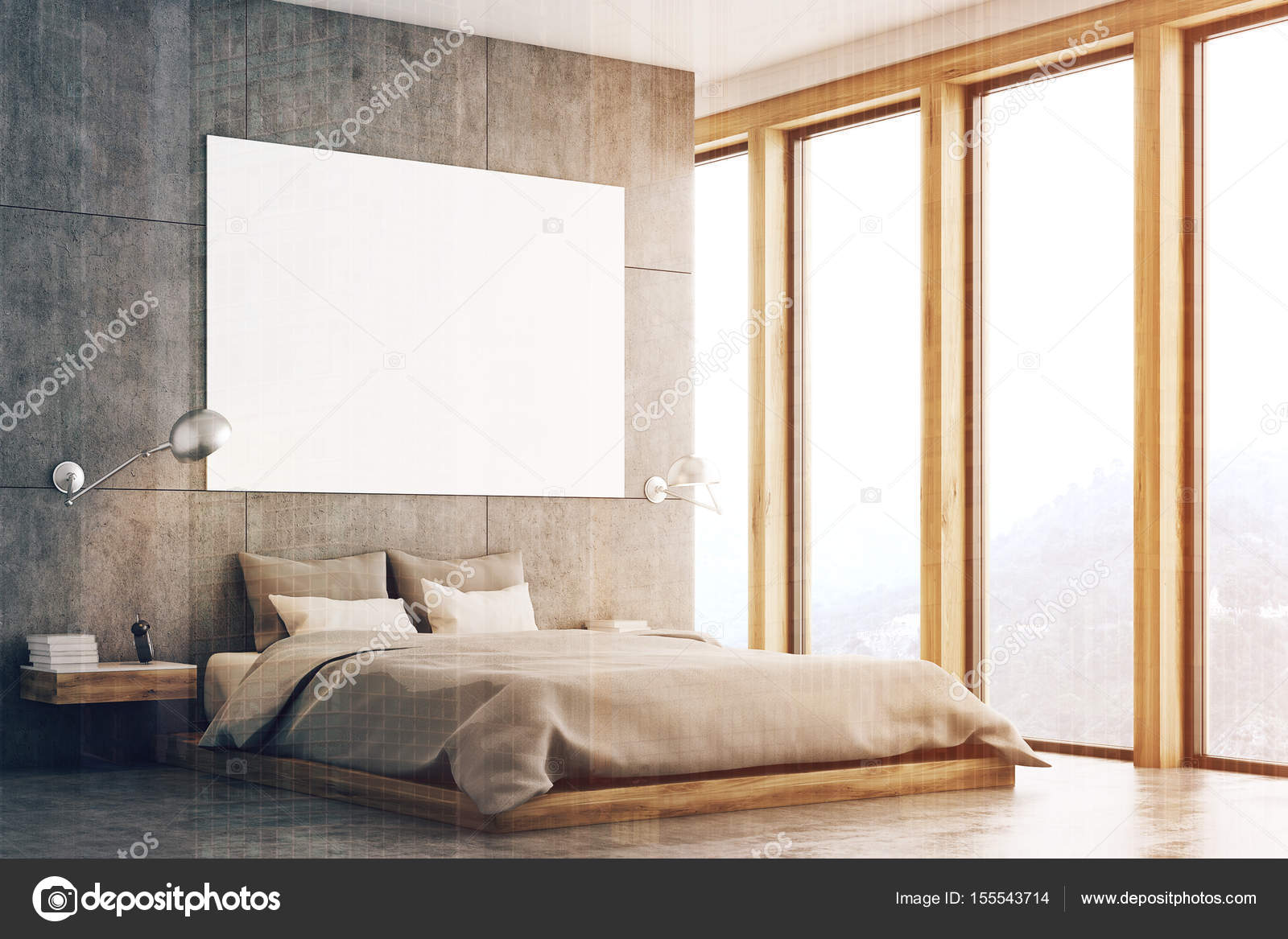 Camera da letto grigio con poster e finestra tonica — Foto Stock ...