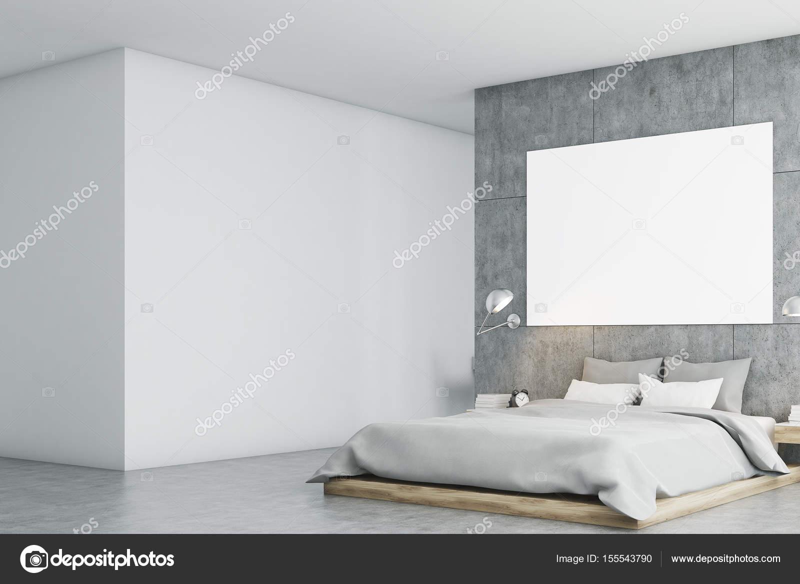 Camera da letto grigio con poster e studio lato — Foto Stock ...