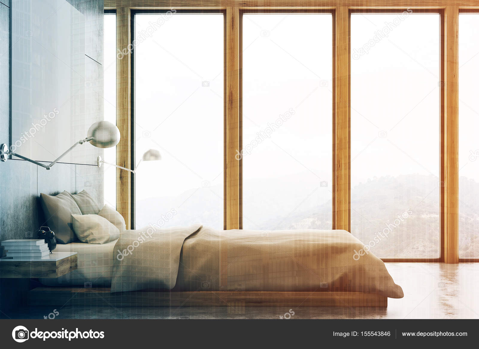 Camera da letto grigio con poster e studio frontale tonica — Foto ...