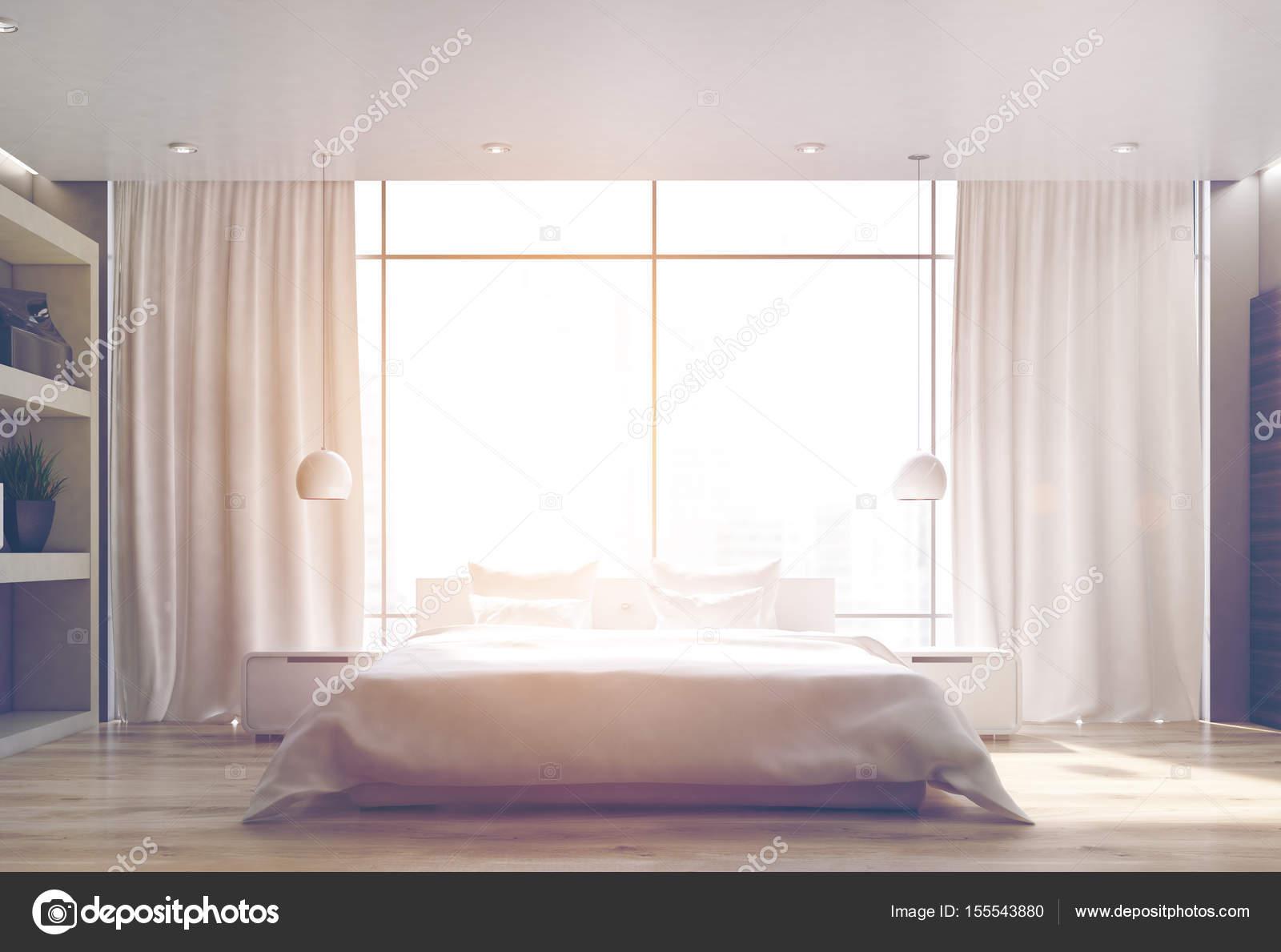 Weisse Schlafzimmer Holzboden Front Getont Stockfoto