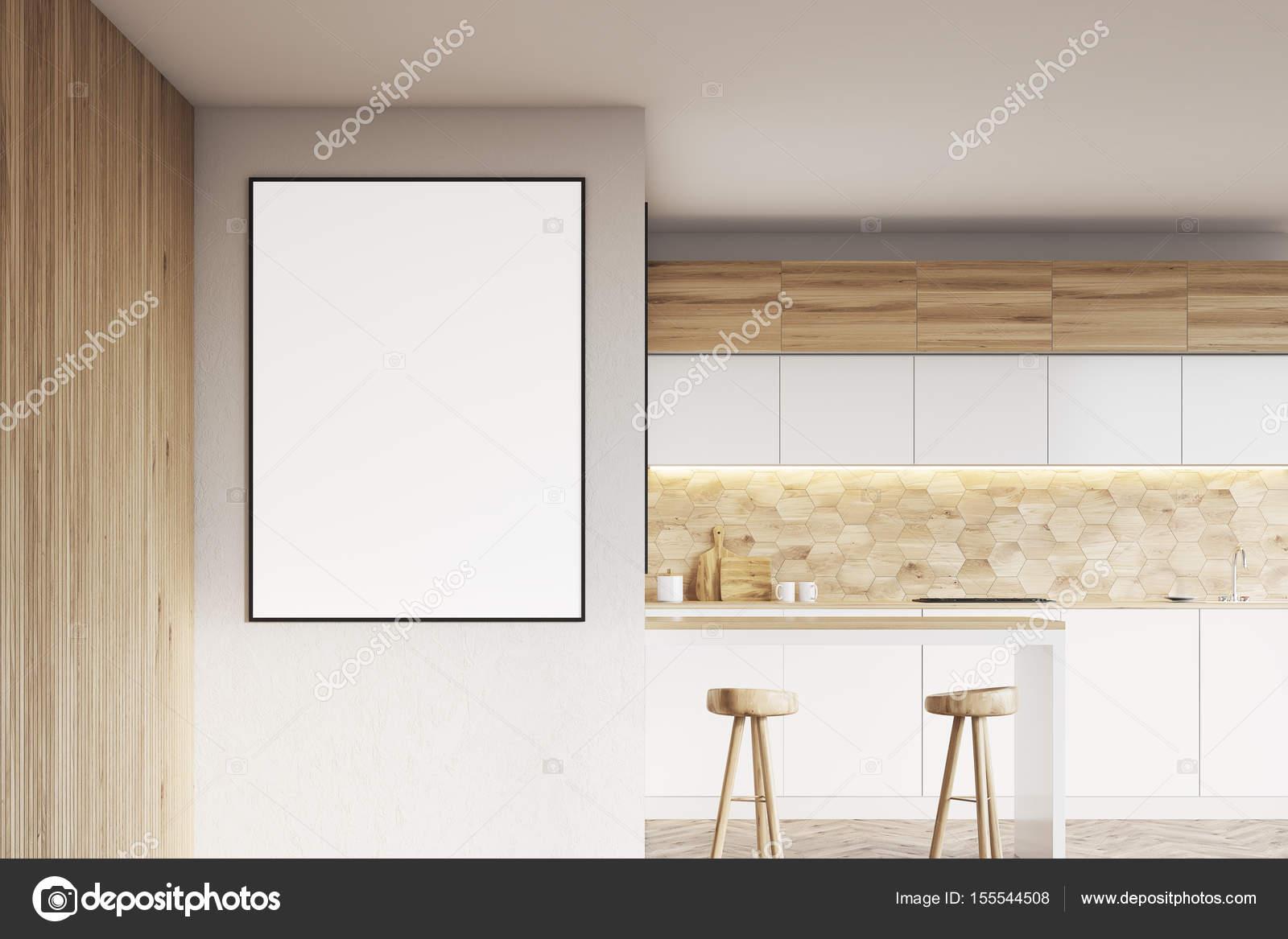 Leichte Holz Küche mit Bar und Plakat — Stockfoto © denisismagilov ...