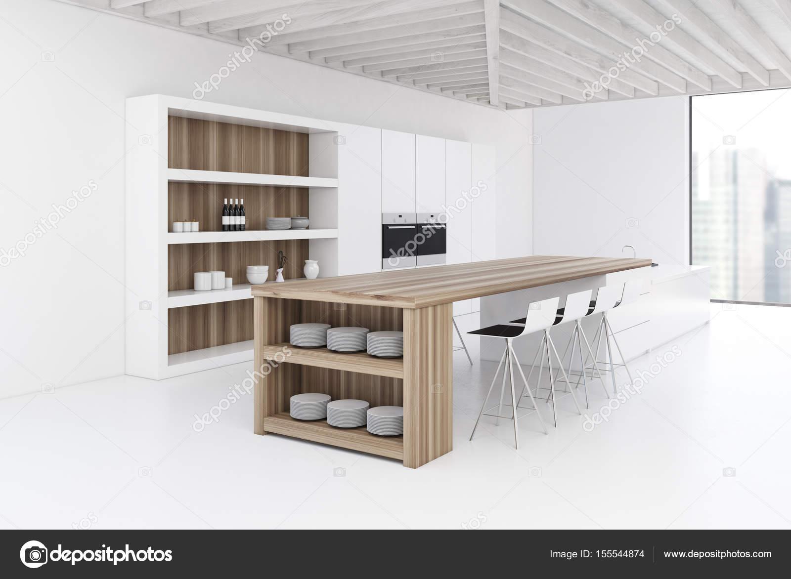Weiße Wand Küche mit Bar, Seite — Stockfoto © denisismagilov #155544874